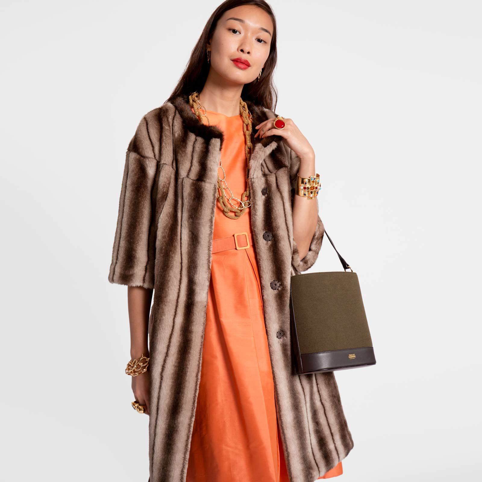Long Faux Fur Jacket Mink - Frances Valentine