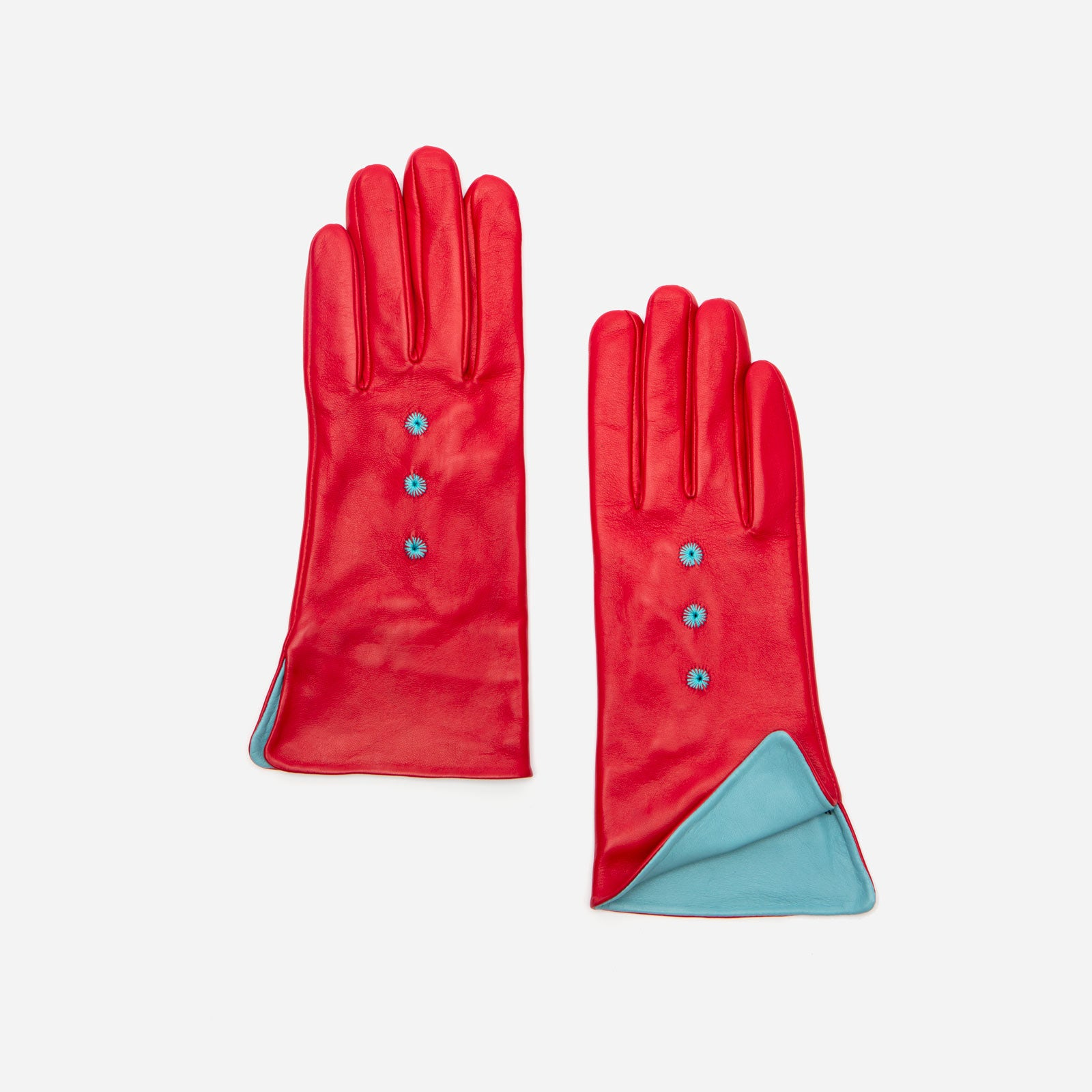 Luisa Asterisk Glove Leather Red - Frances Valentine