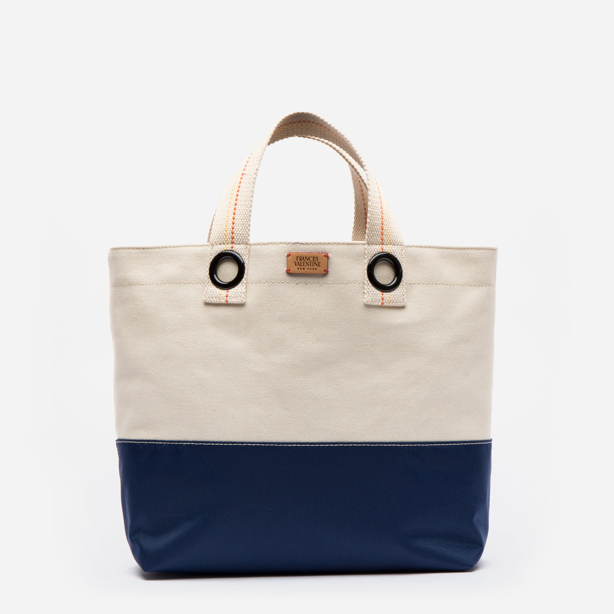 Margaret Colorblock Canvas Nylon Natural Navy - Frances Valentine