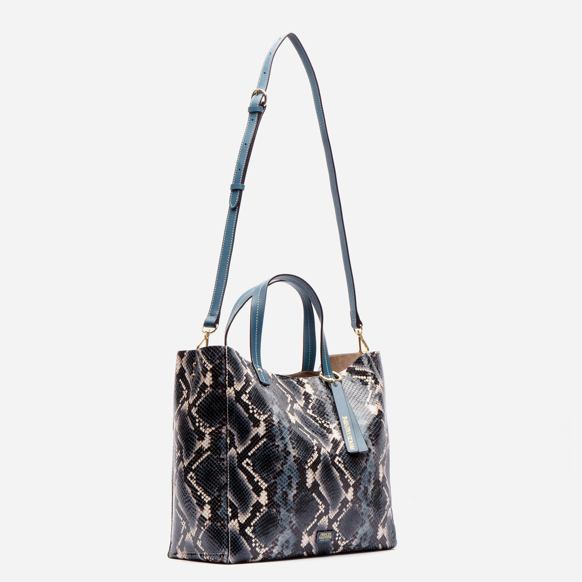 Large Margaret Tote Printed Leather Snake Blue