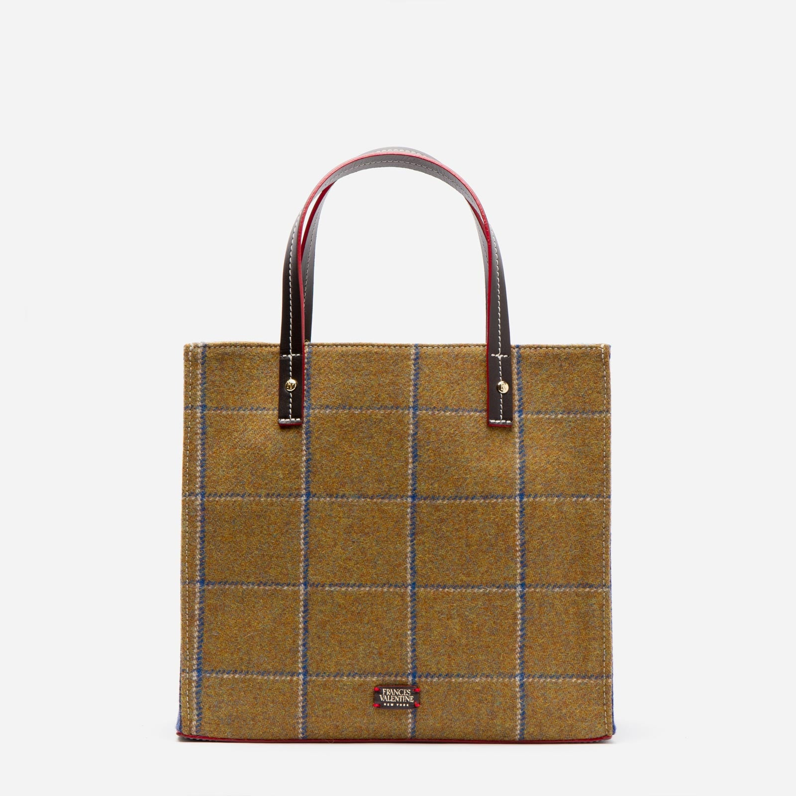 Margo Tote Wool Plaid Olive Navy - Frances Valentine
