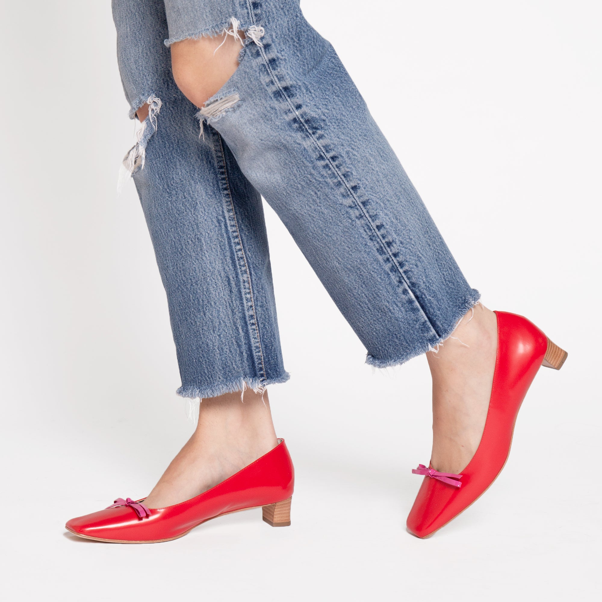 Mary Mini Block Heel Spazzalato Red Pink