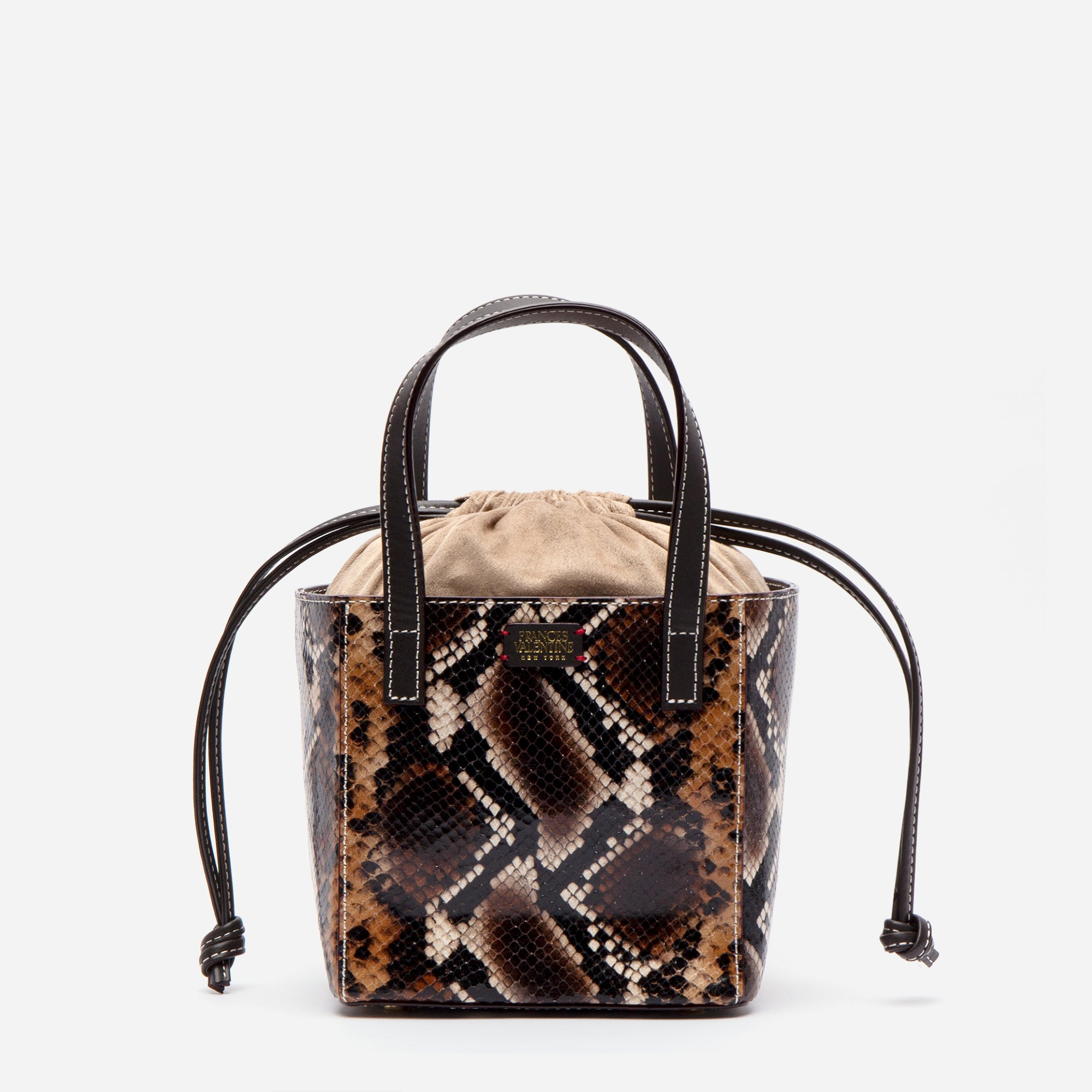Moxy Cube Tote Snake Embossed Brown