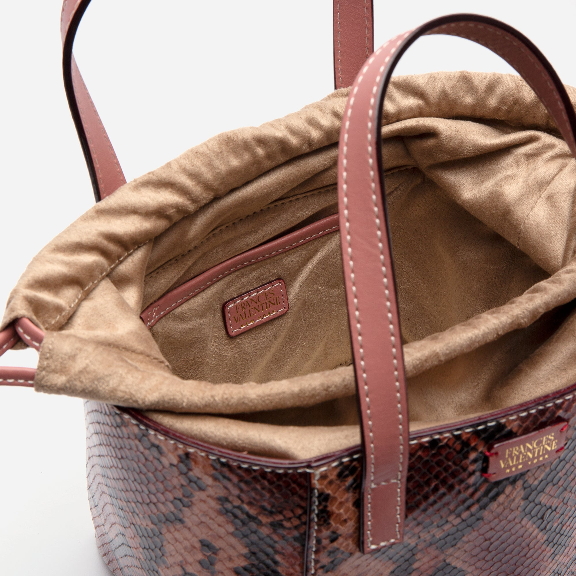 Moxy Cube Tote Snake Embossed Pink