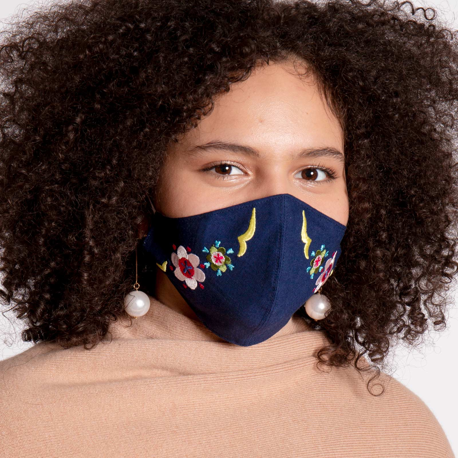Embroidered Mask Floral Navy Multi