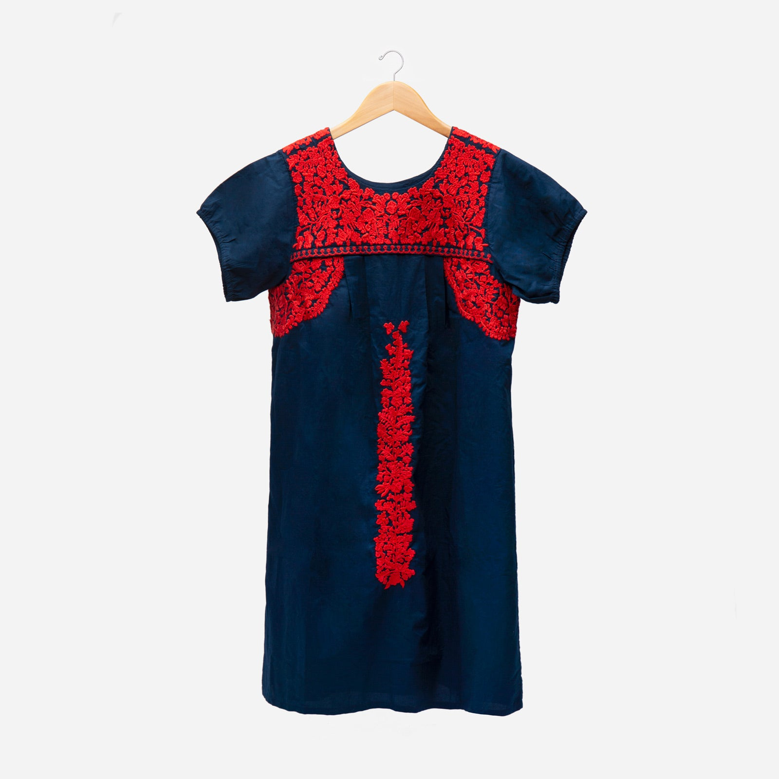 Floral Embroidered Lace Dress Navy Red - Frances Valentine