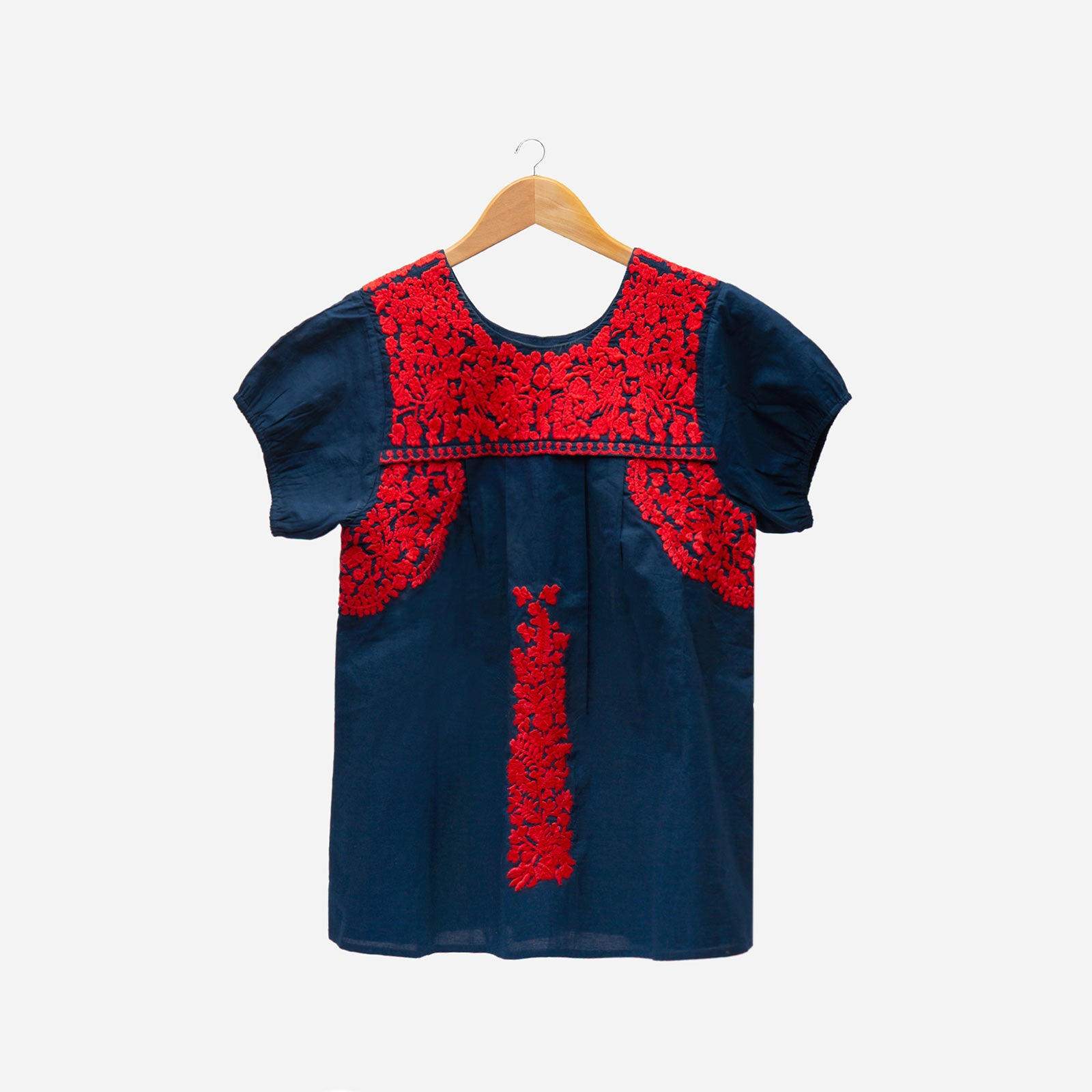 Floral Embroidered Lace Top Navy Red - Frances Valentine