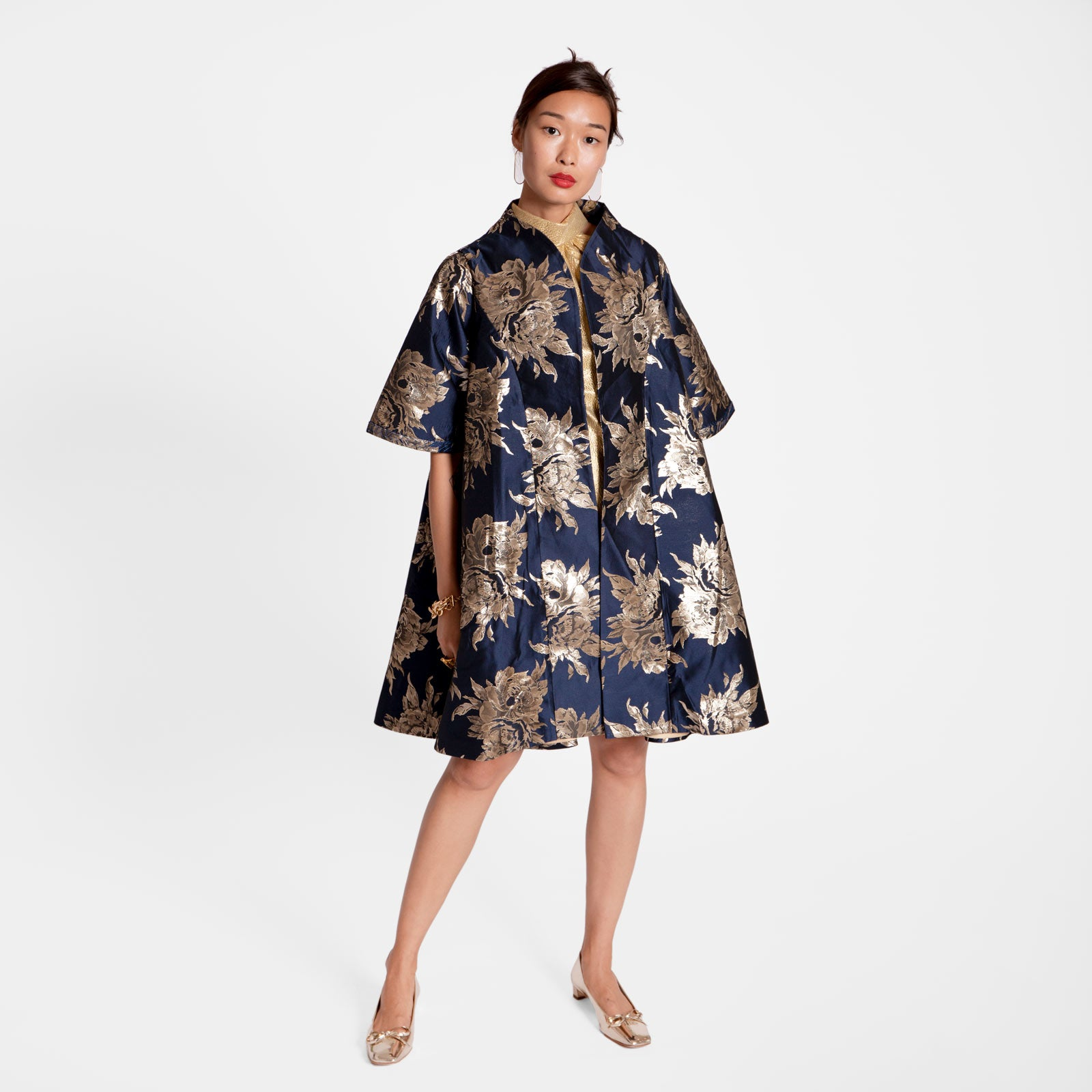 Metallic Jacquard Swing Coat Navy - Frances Valentine