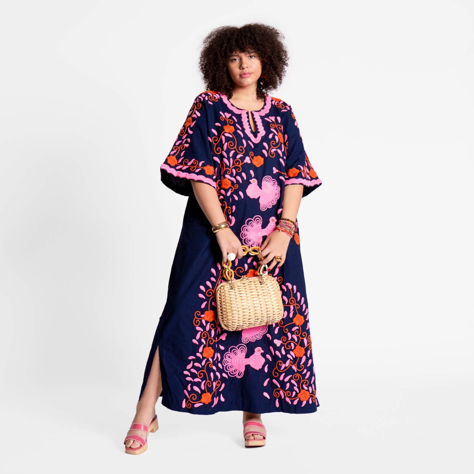 Peacock Caftan Dress Navy Pink Orange - Frances Valentine