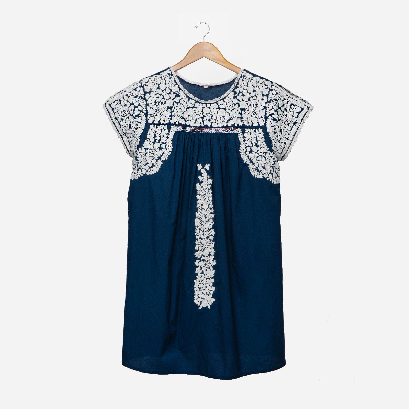 Floral Embroidered Lace Dress Navy Oyster