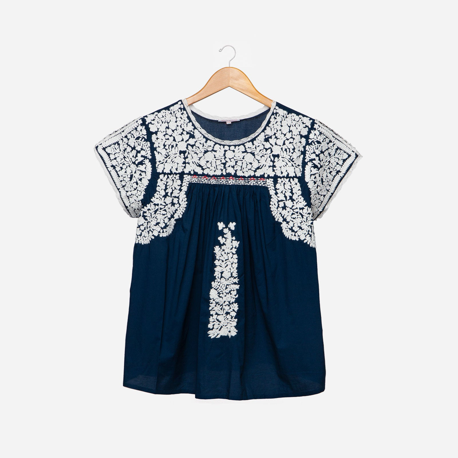 Floral Embroidered Lace Top Navy Oyster - Frances Valentine