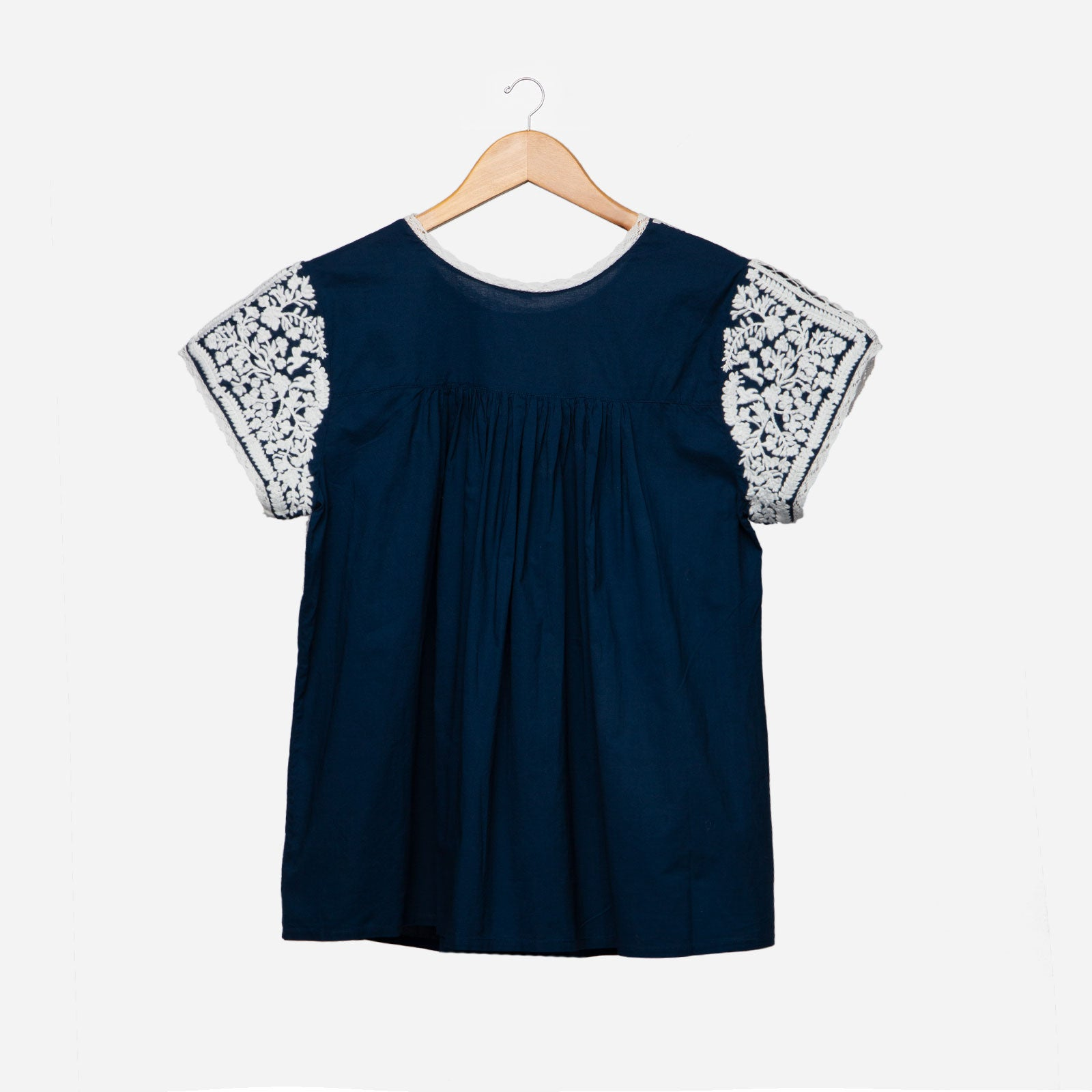 Floral Embroidered Lace Top Navy Oyster