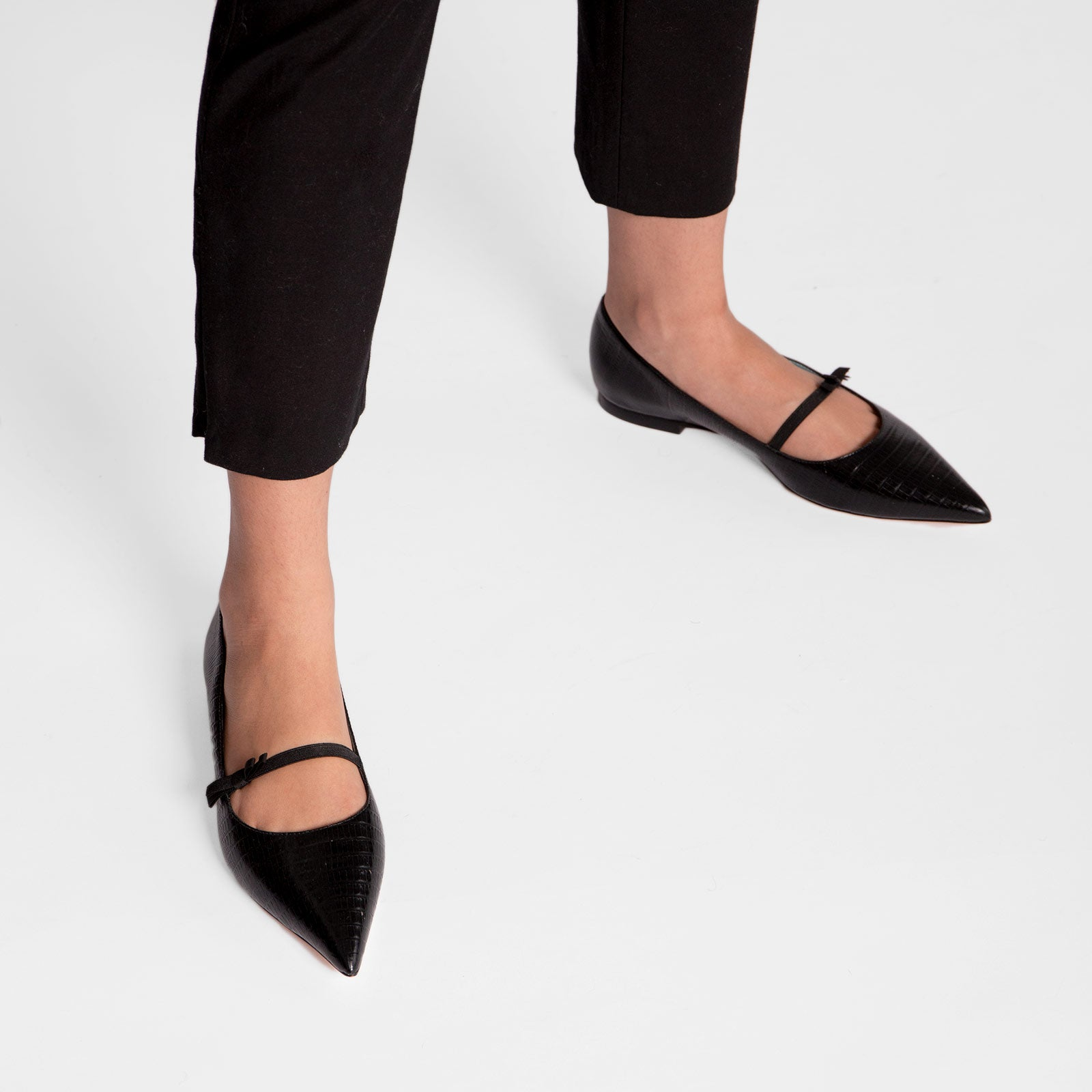 Pamela Mary Jane Flat Lizard Embossed Black