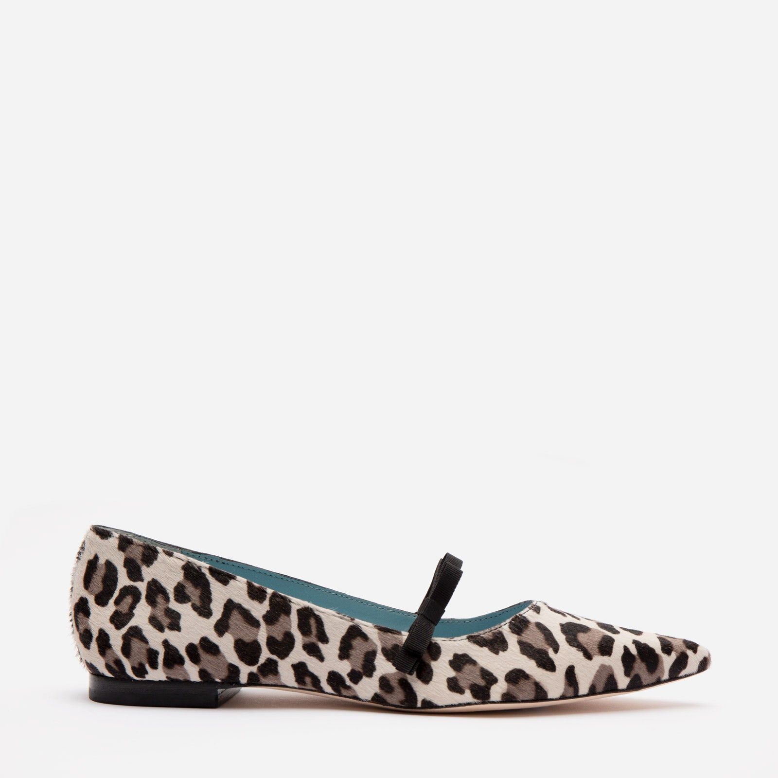 Pamela Mary Jane Flat Printed Haircalf Snow Leopard