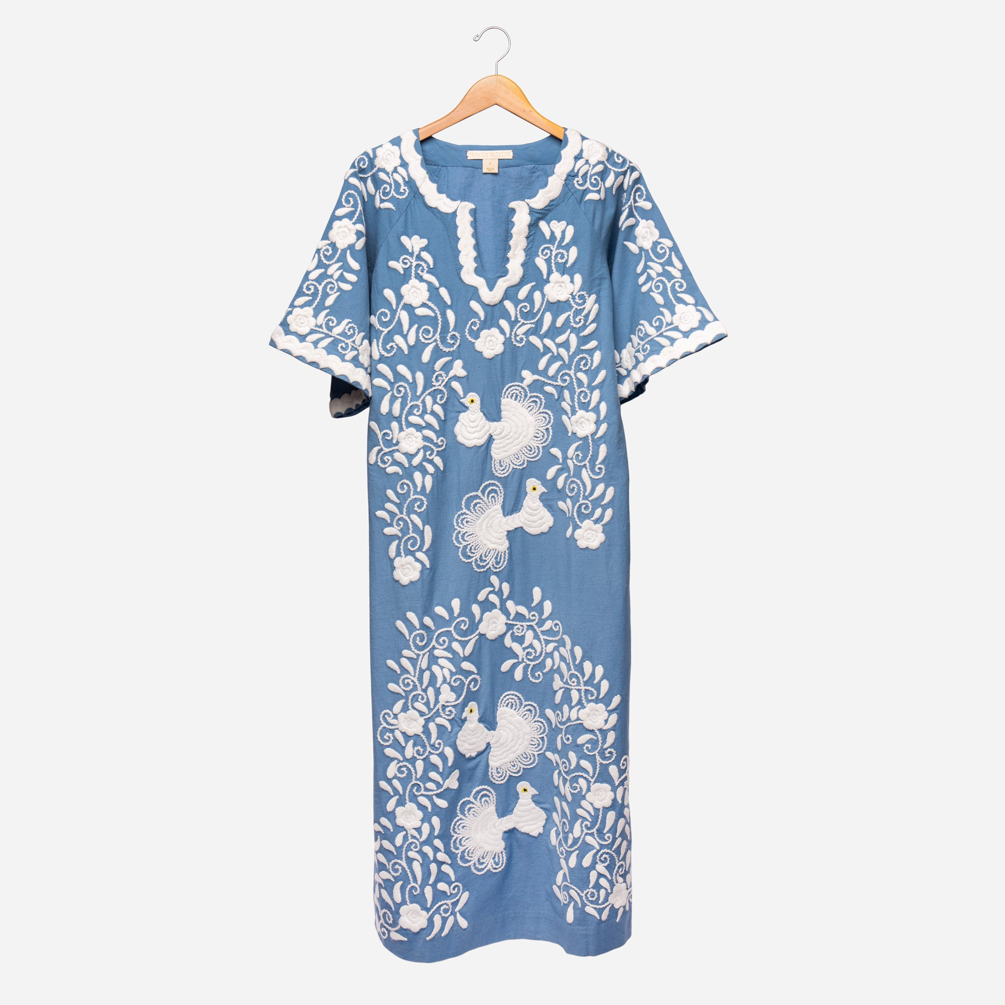 Peacock Caftan Dress Blue - Frances Valentine