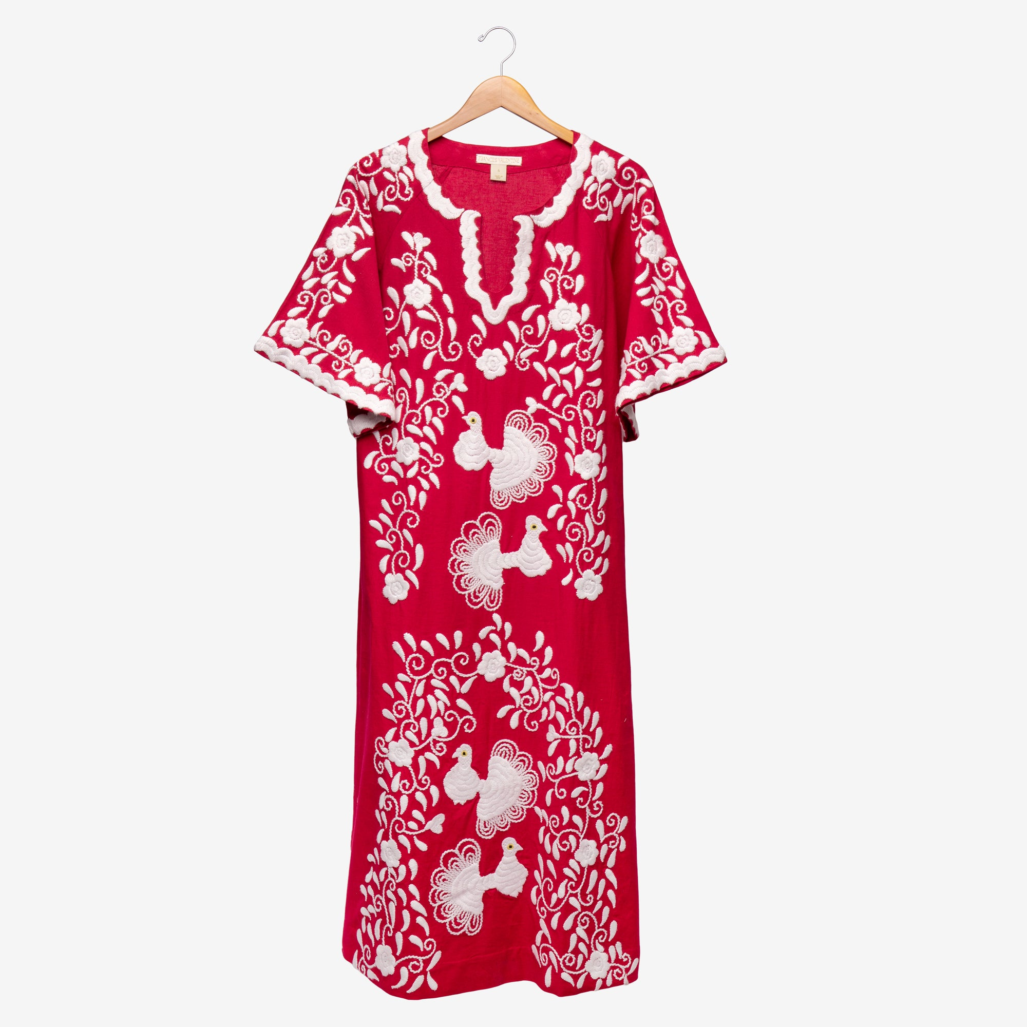 Peacock Caftan Dress Scarlet