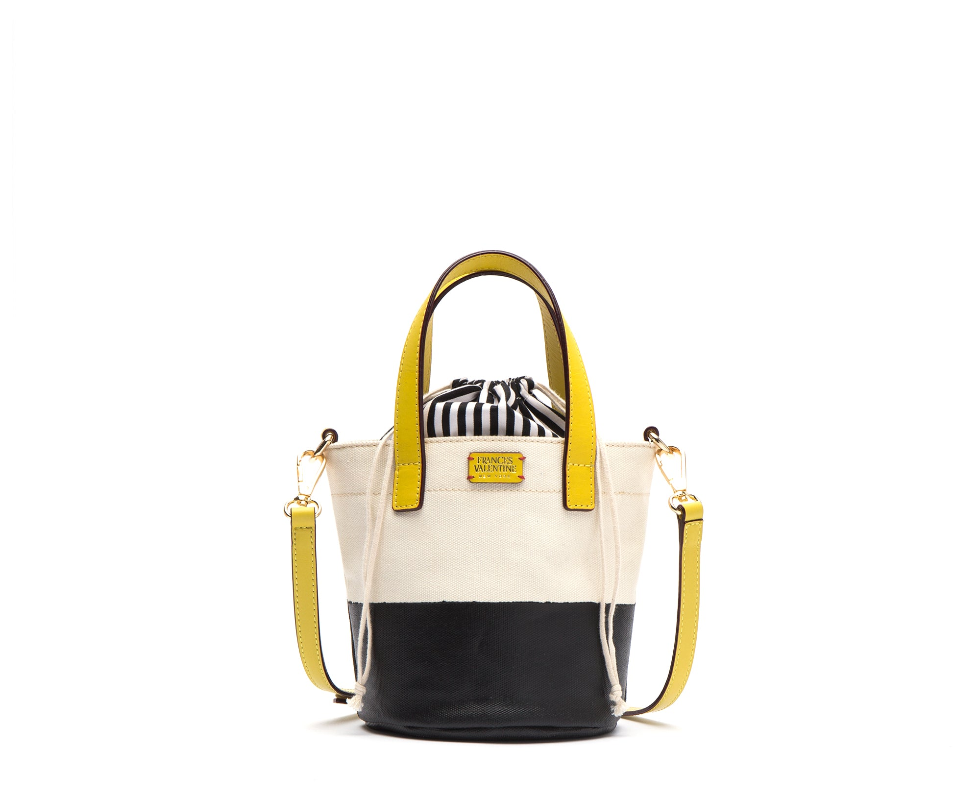Small Canvas Dipped Bucket Bag Black Yellow