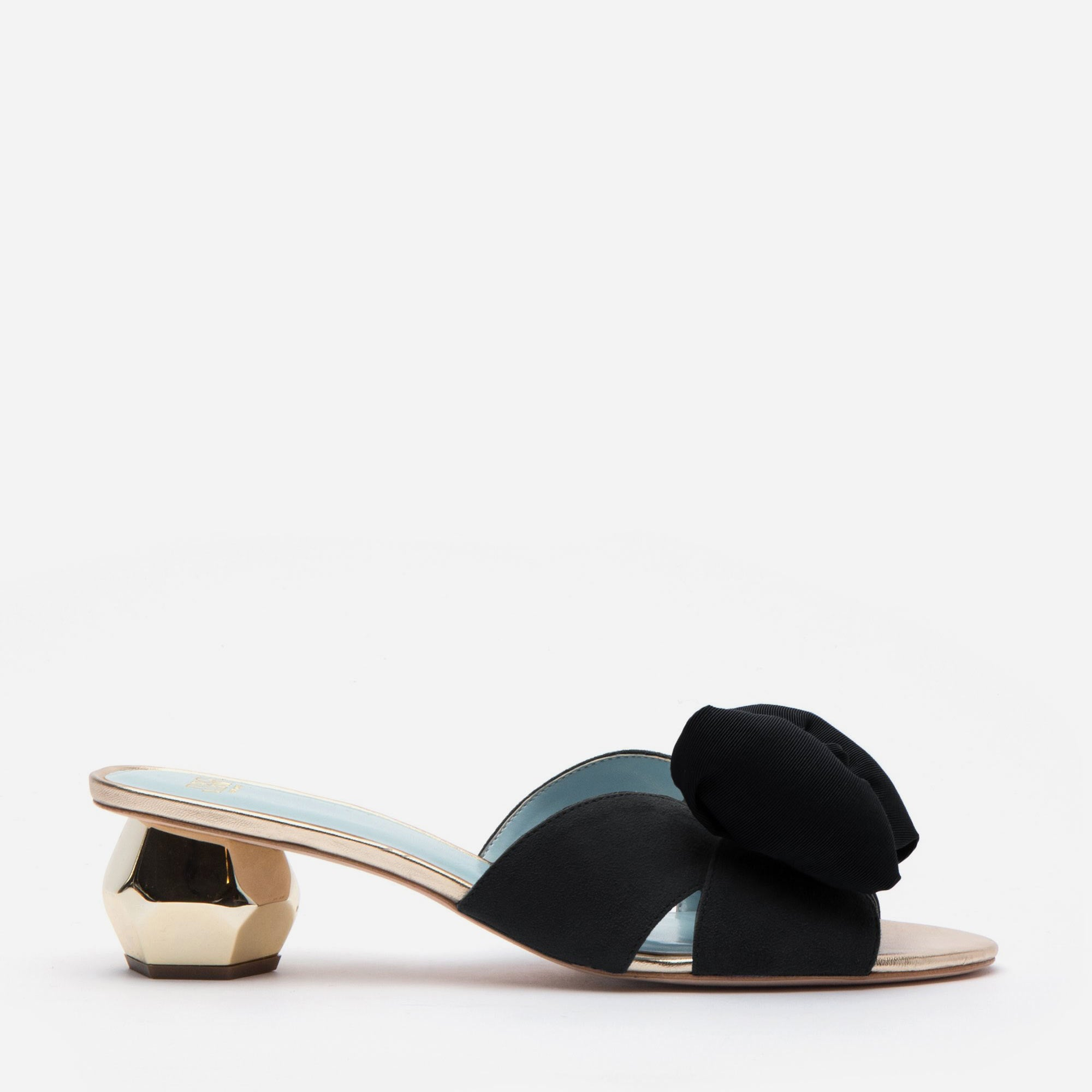 Dottie Suede Bow Slide Black