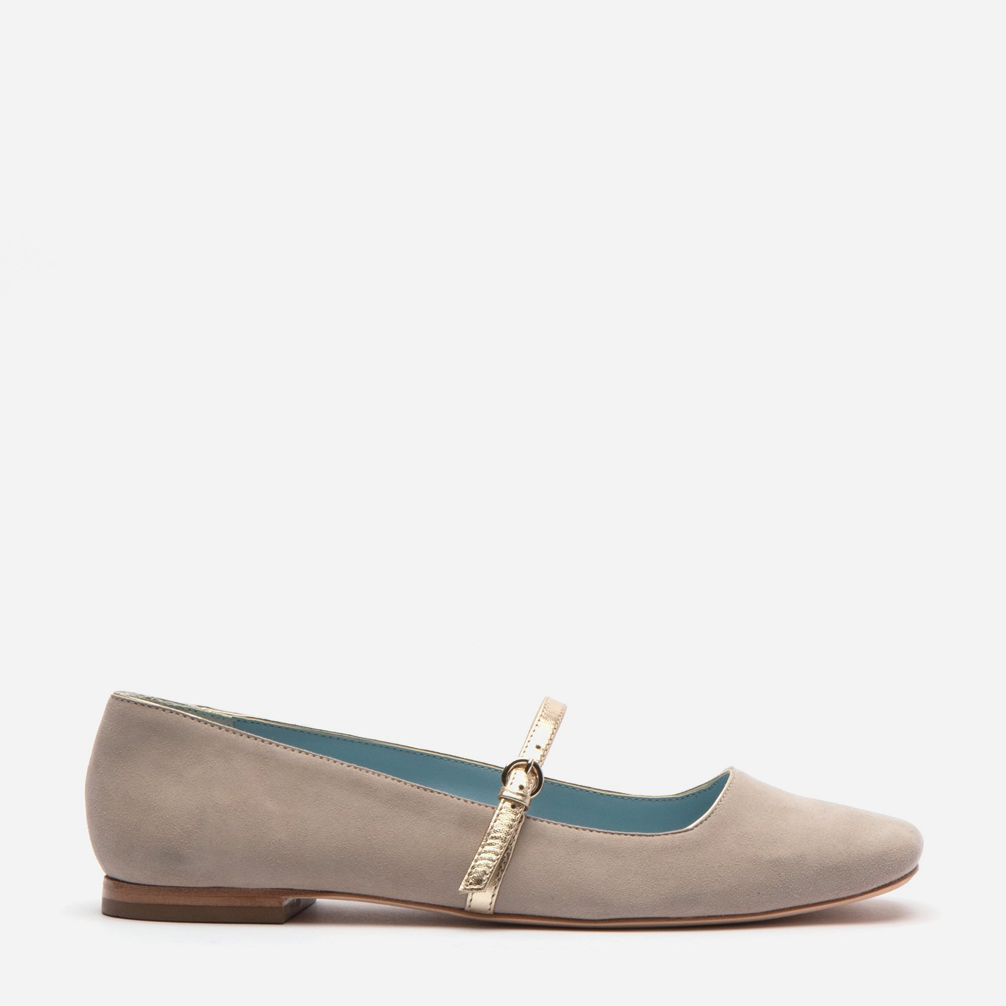 Joan Suede Mary Jane Flat Pearl Grey - Frances Valentine