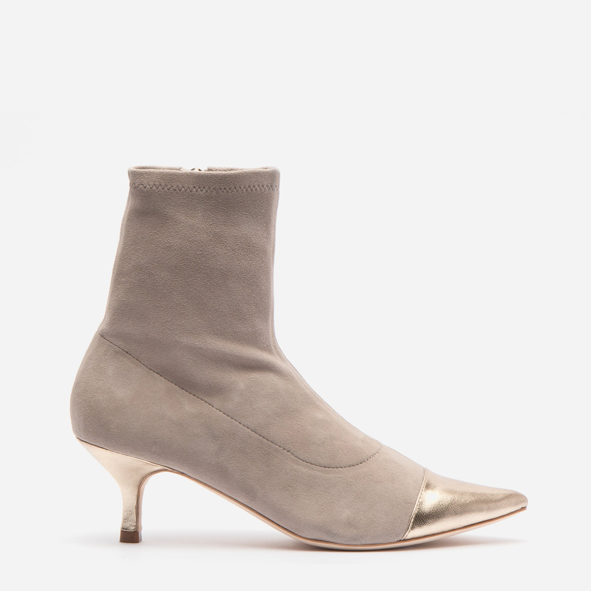 Serena Suede Pointed Toe Boot Pearl Grey - Frances Valentine