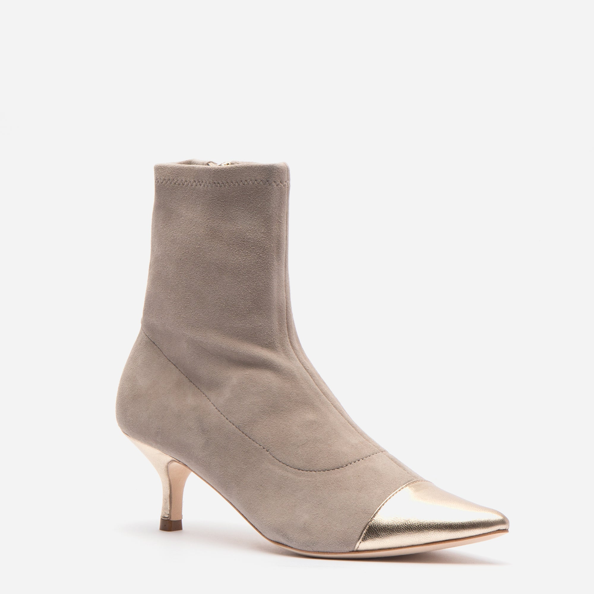 Serena Suede Pointed Toe Boot Pearl Grey