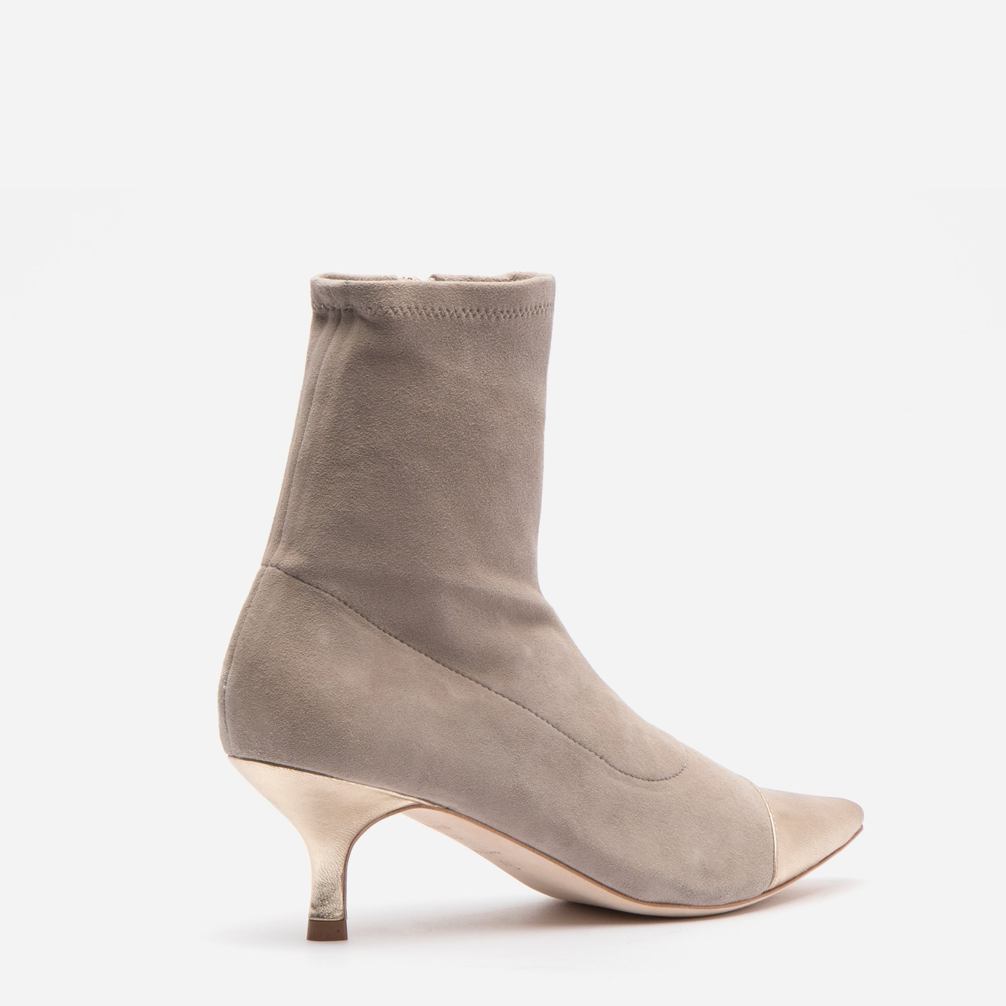 Serena Suede Pointed Toe Boots Pearl Grey