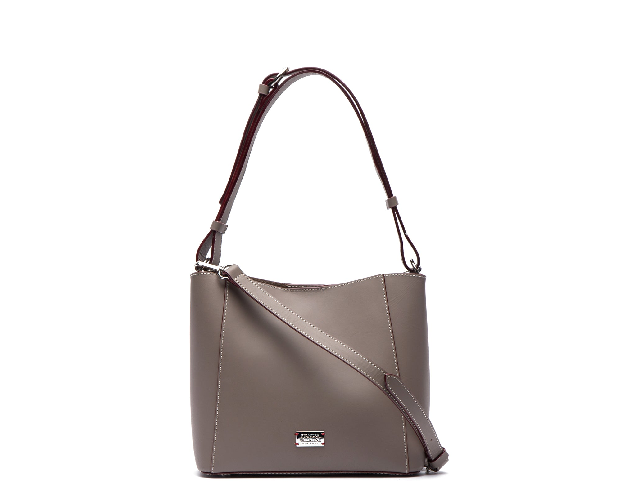 Small June Leather Tote Grey