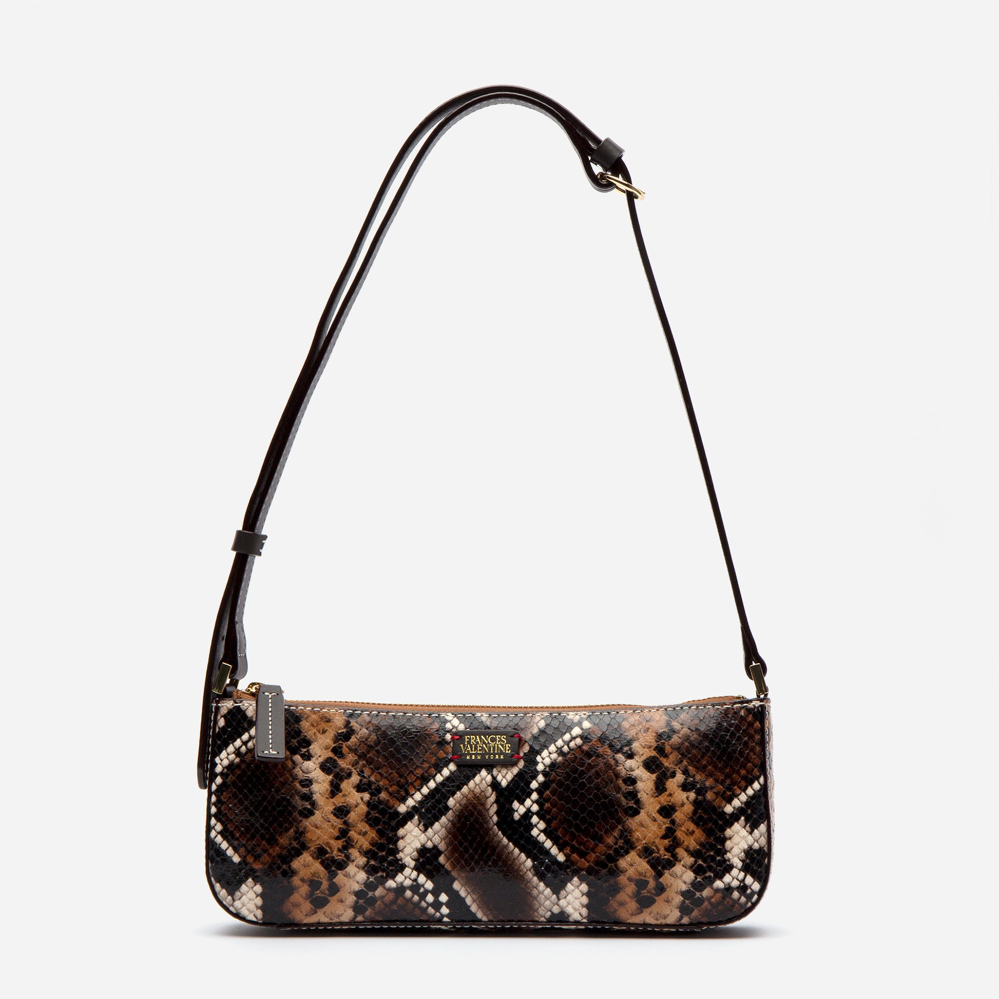 Pip Shoulder Bag Snake Embossed Brown - Frances Valentine