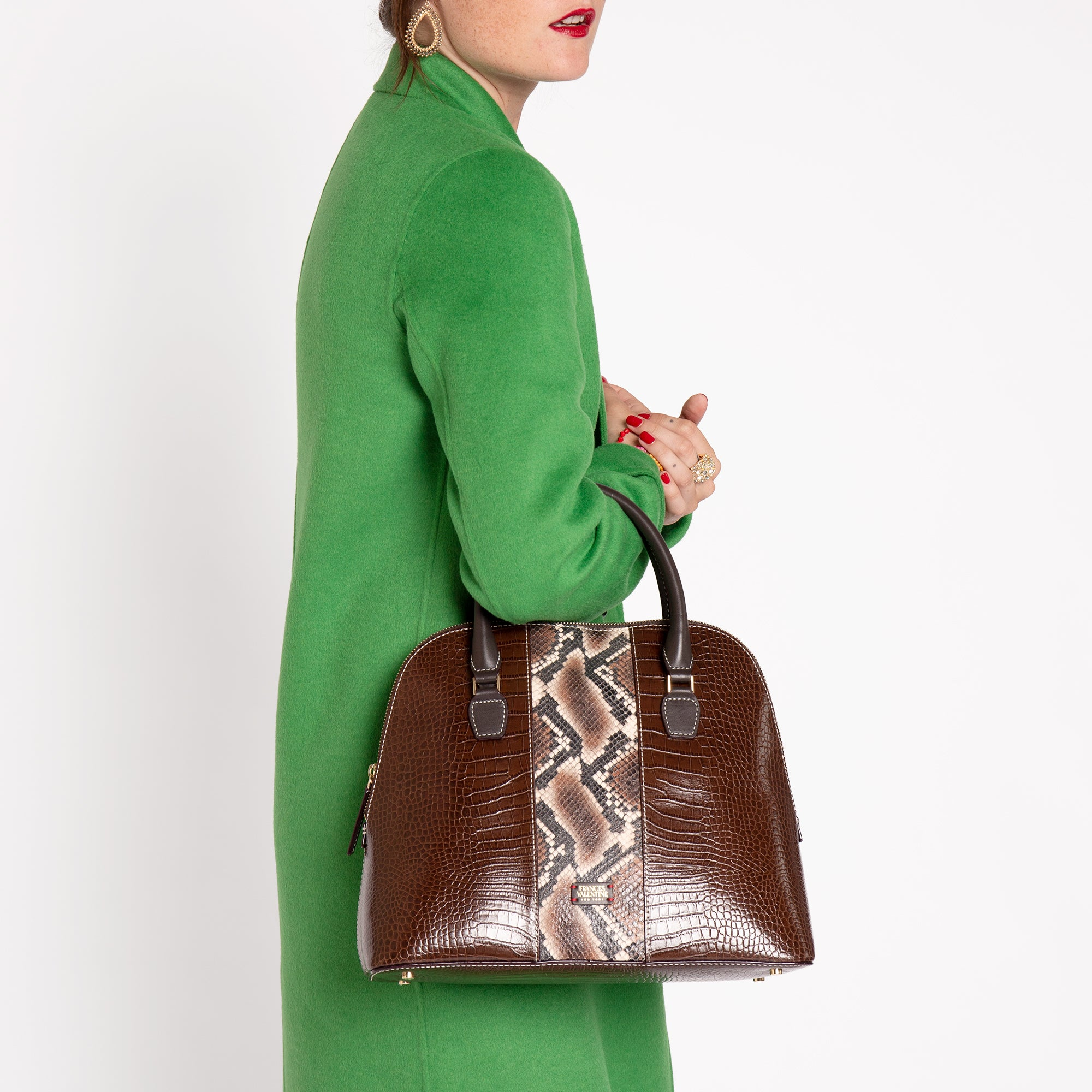 Rachel Satchel Croc Snake Chocolate