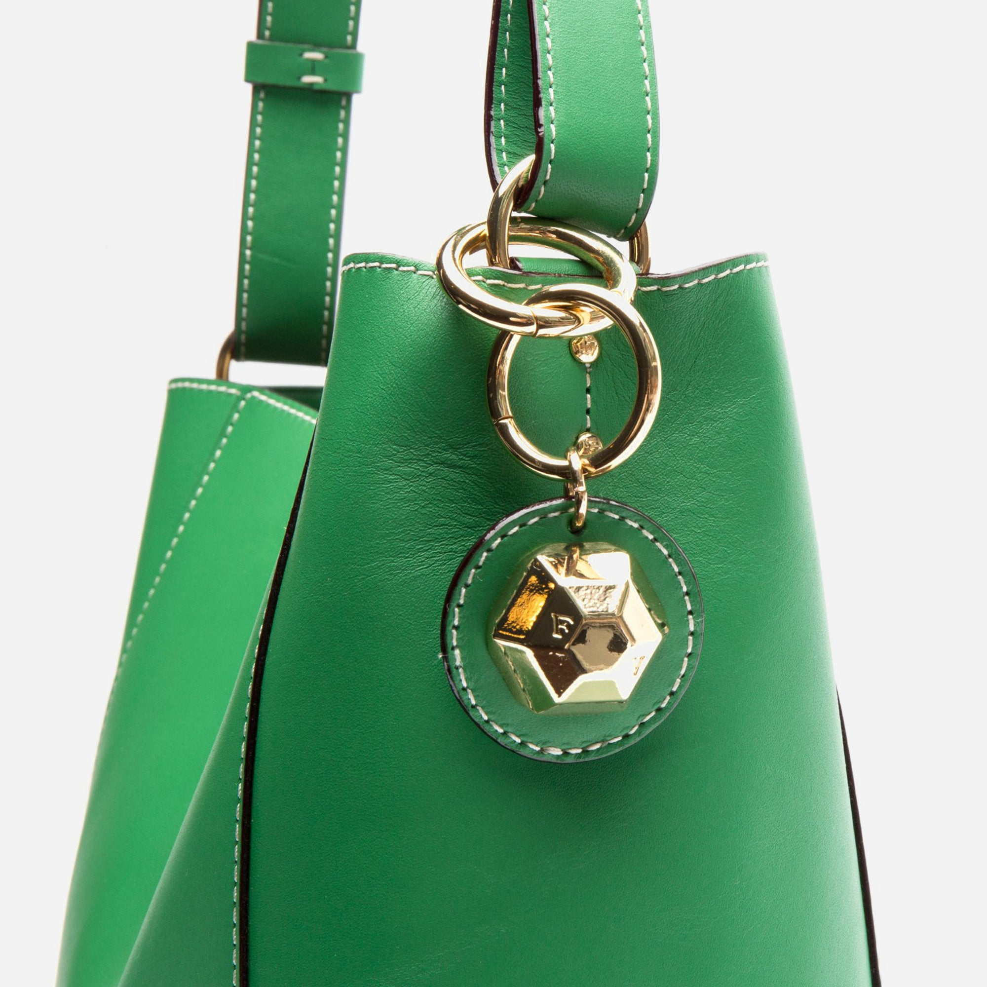 Small June Leather Tote Green Ray