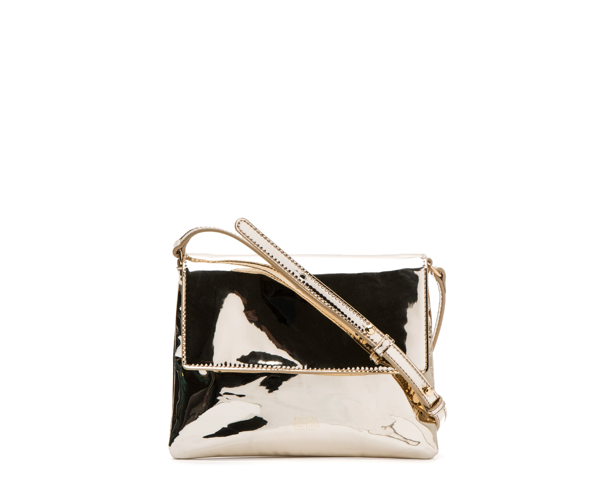 Maggie Slim Crossbody Metallic Vegan Platino - Frances Valentine