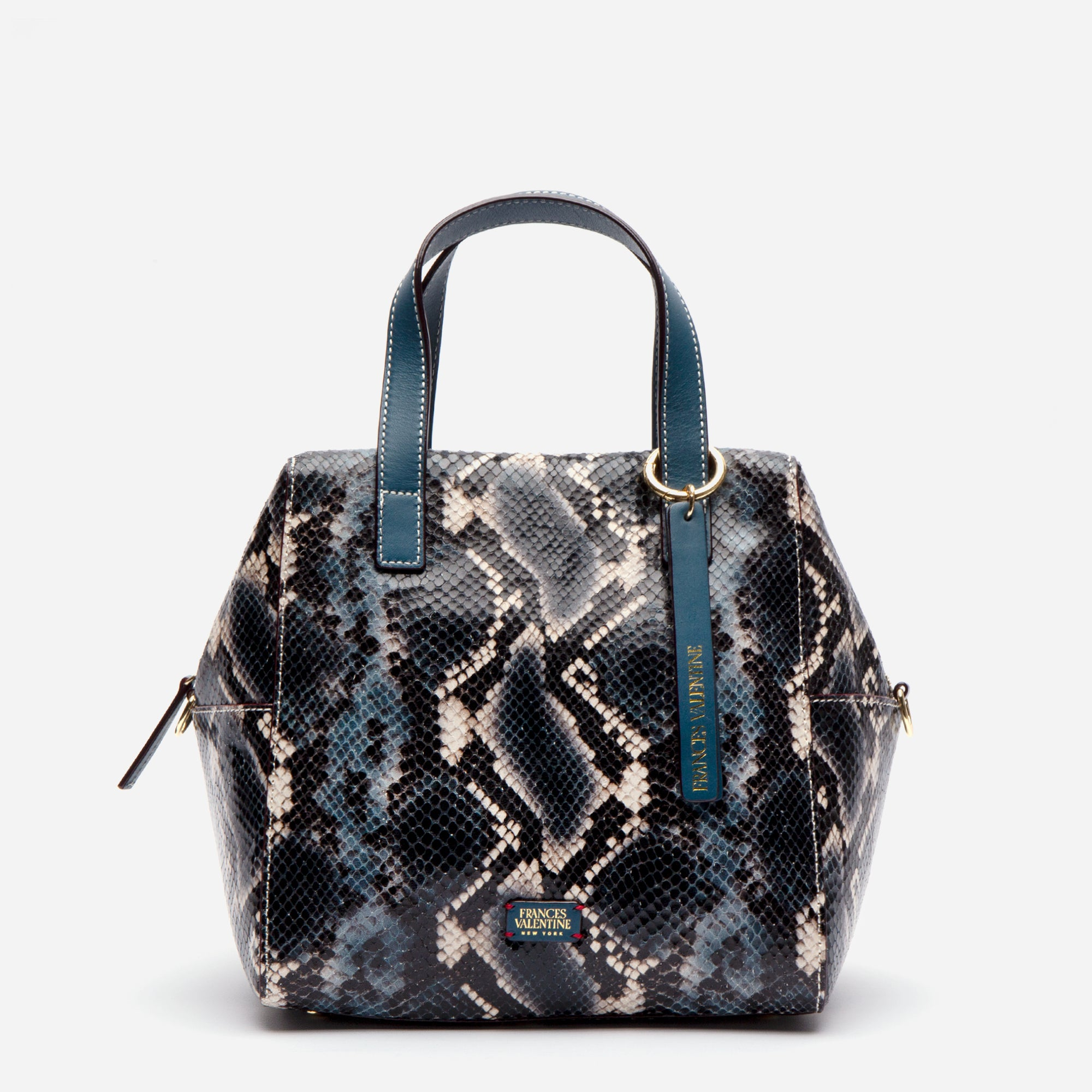 Sabrina Satchel Snake Embossed Blue