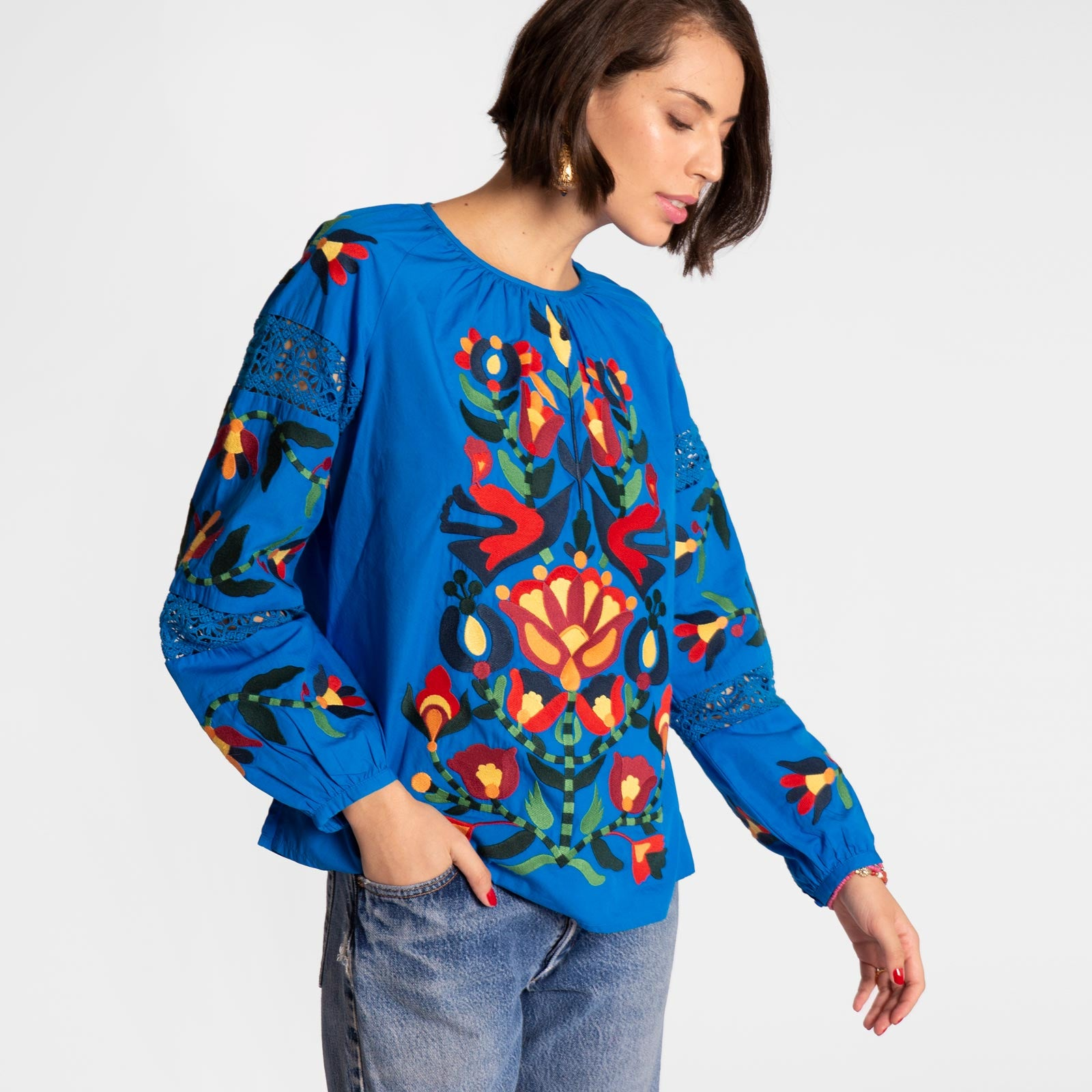 Saskia Embroidered Blouse Blue - Frances Valentine
