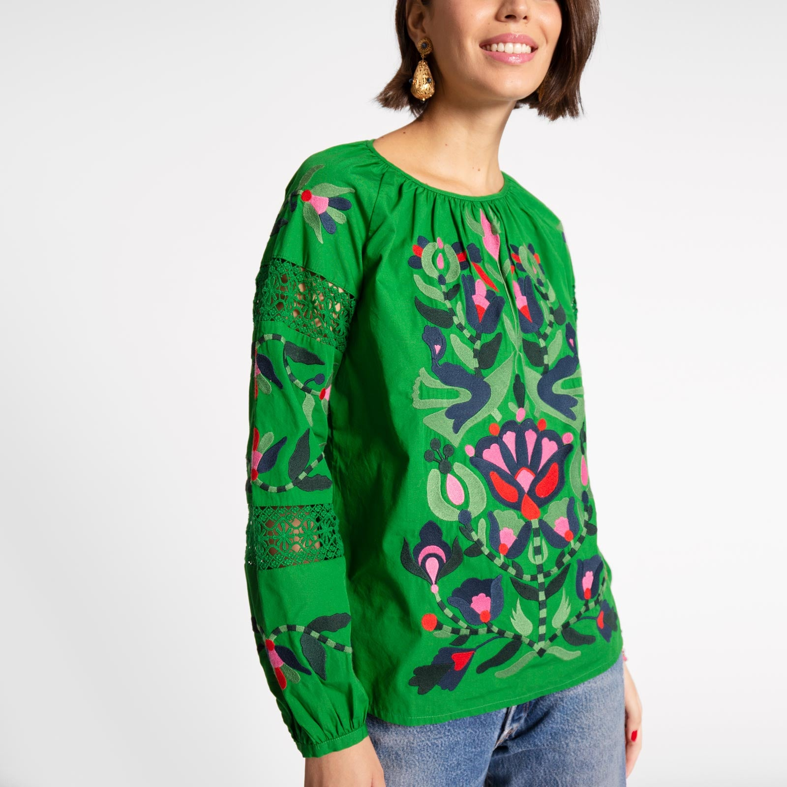 Saskia Embroidered Blouse Green - Frances Valentine