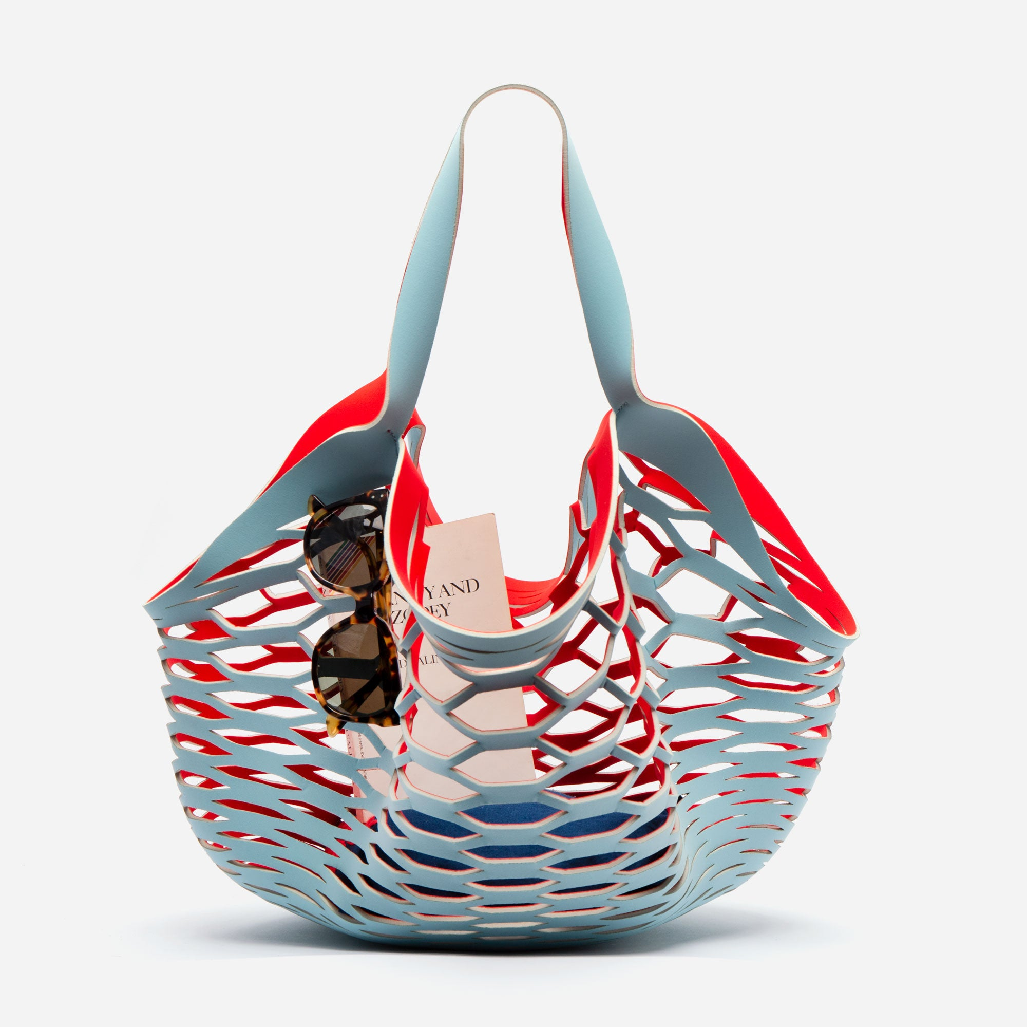 Sea Star Beachwear Fisherman Tote Light Blue Red - Frances Valentine