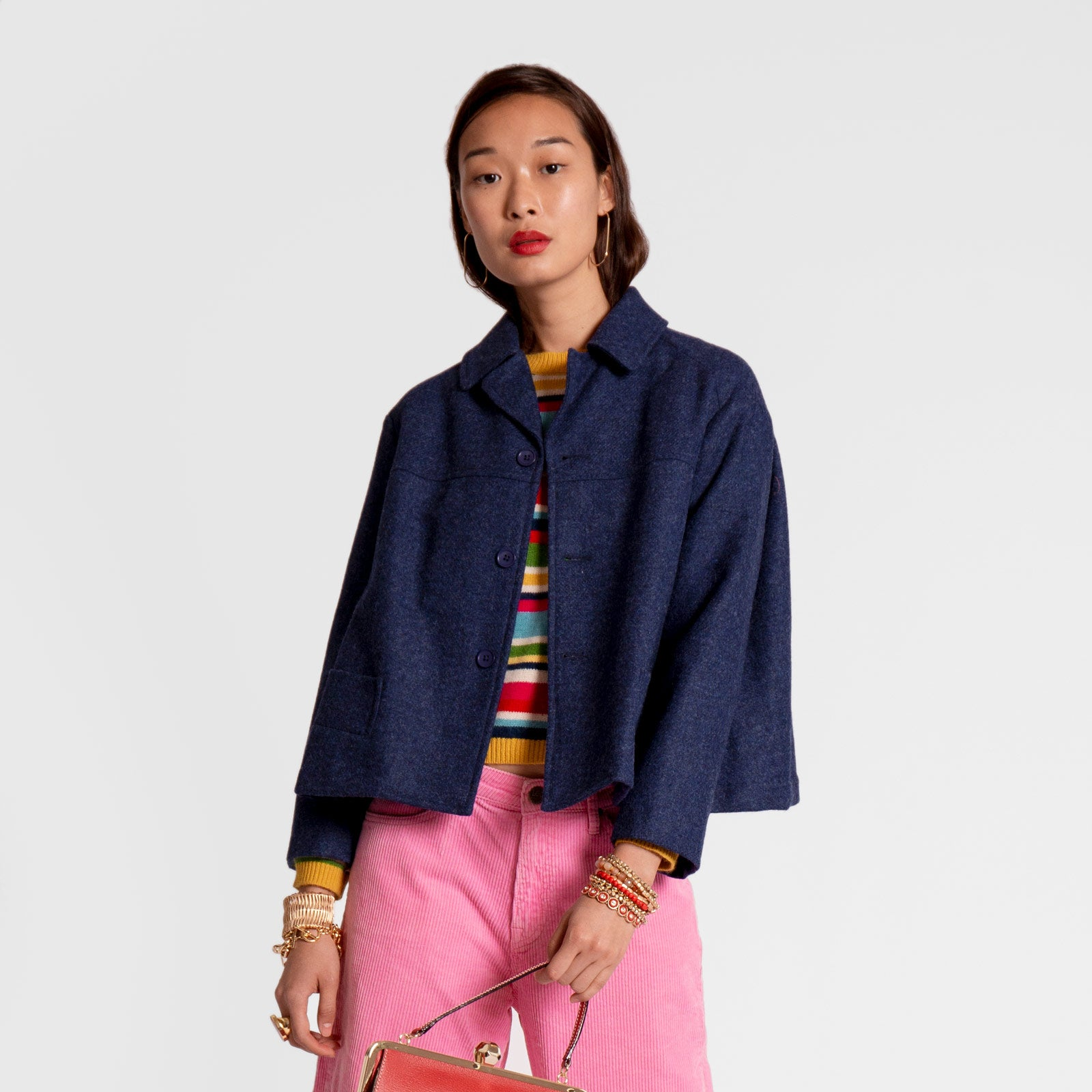 Short Swing Coat Wool Navy