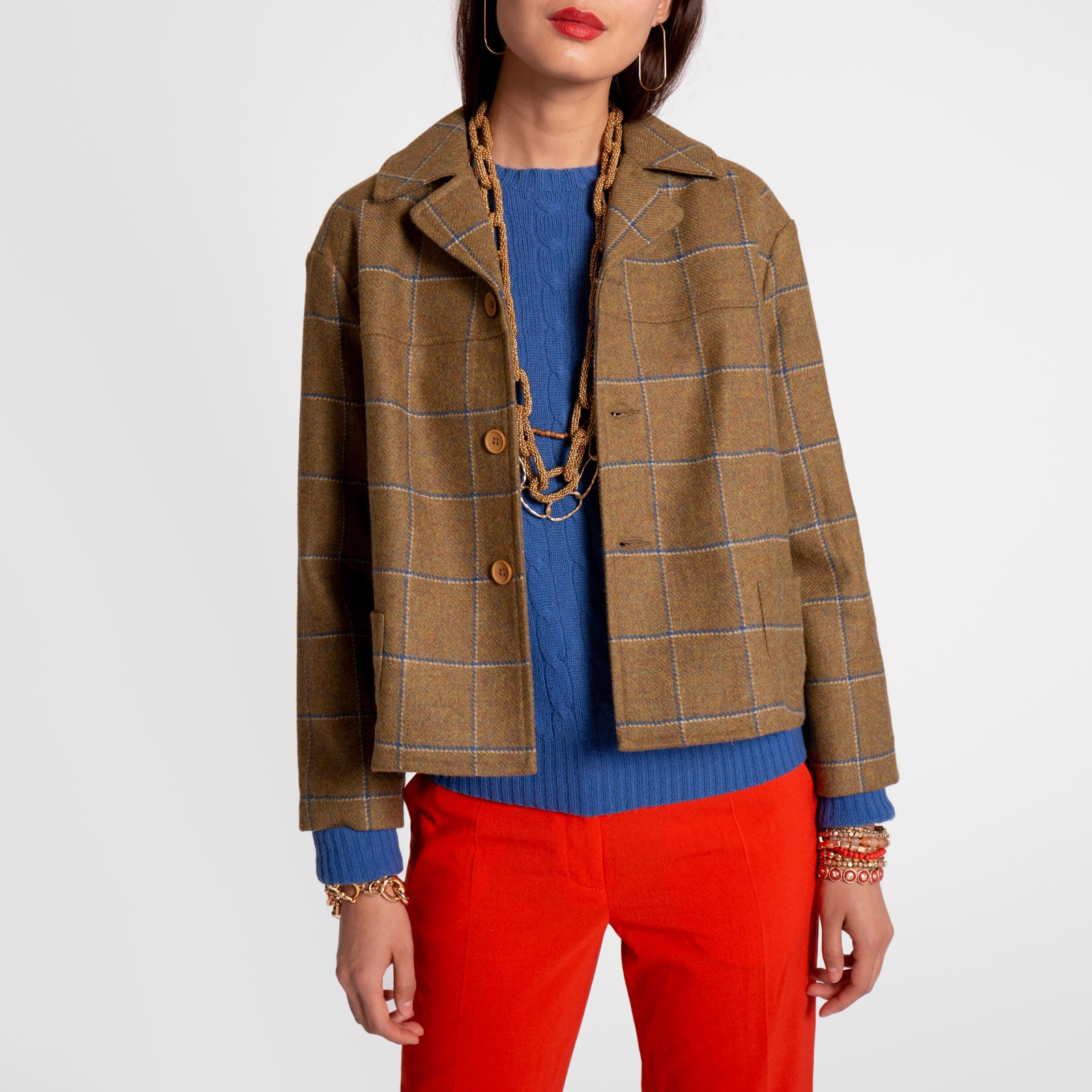 Maia Short Swing Coat Wool Plaid Olive Navy - Frances Valentine