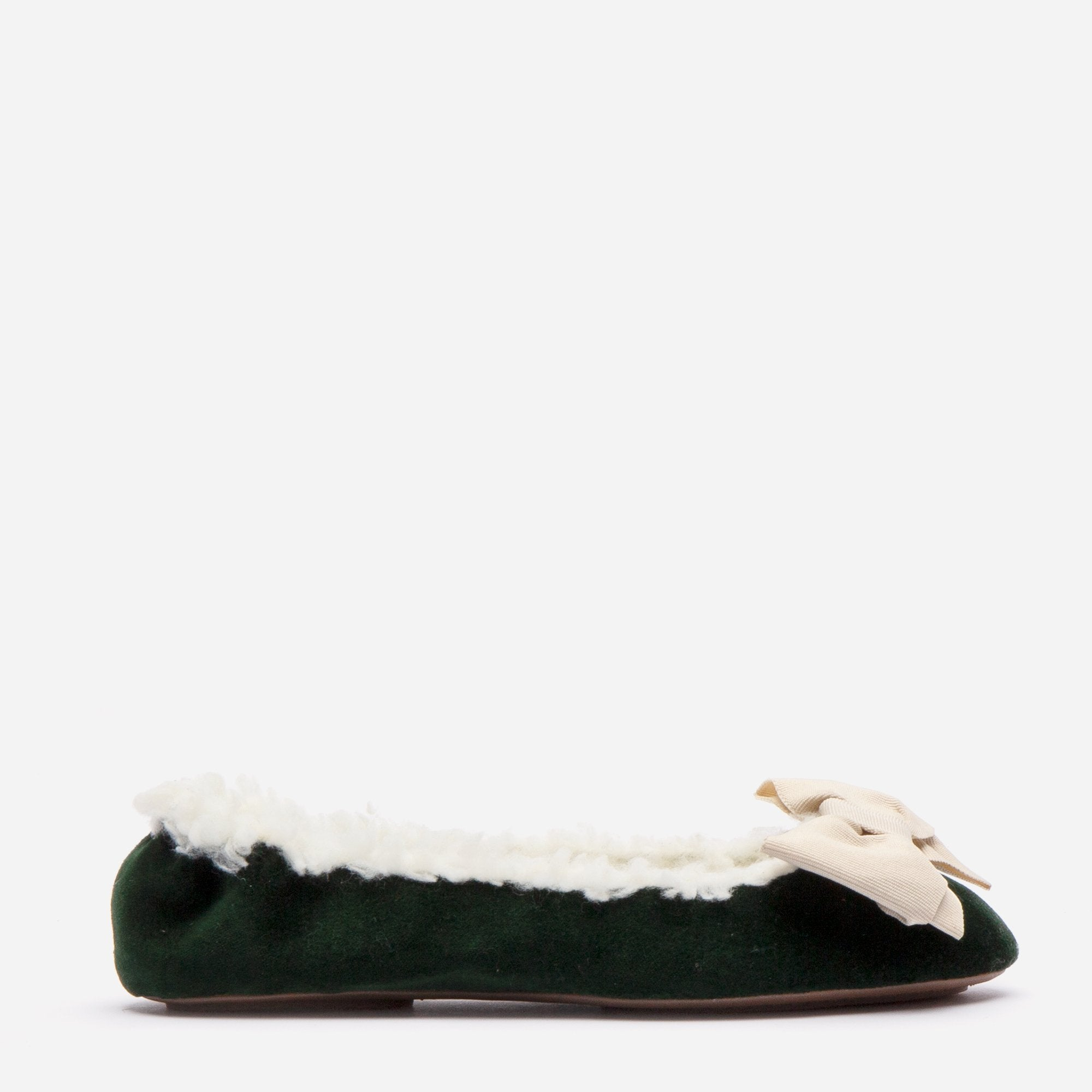 Velvet Bow Slipper Faux Shearling Forest Green - Frances Valentine