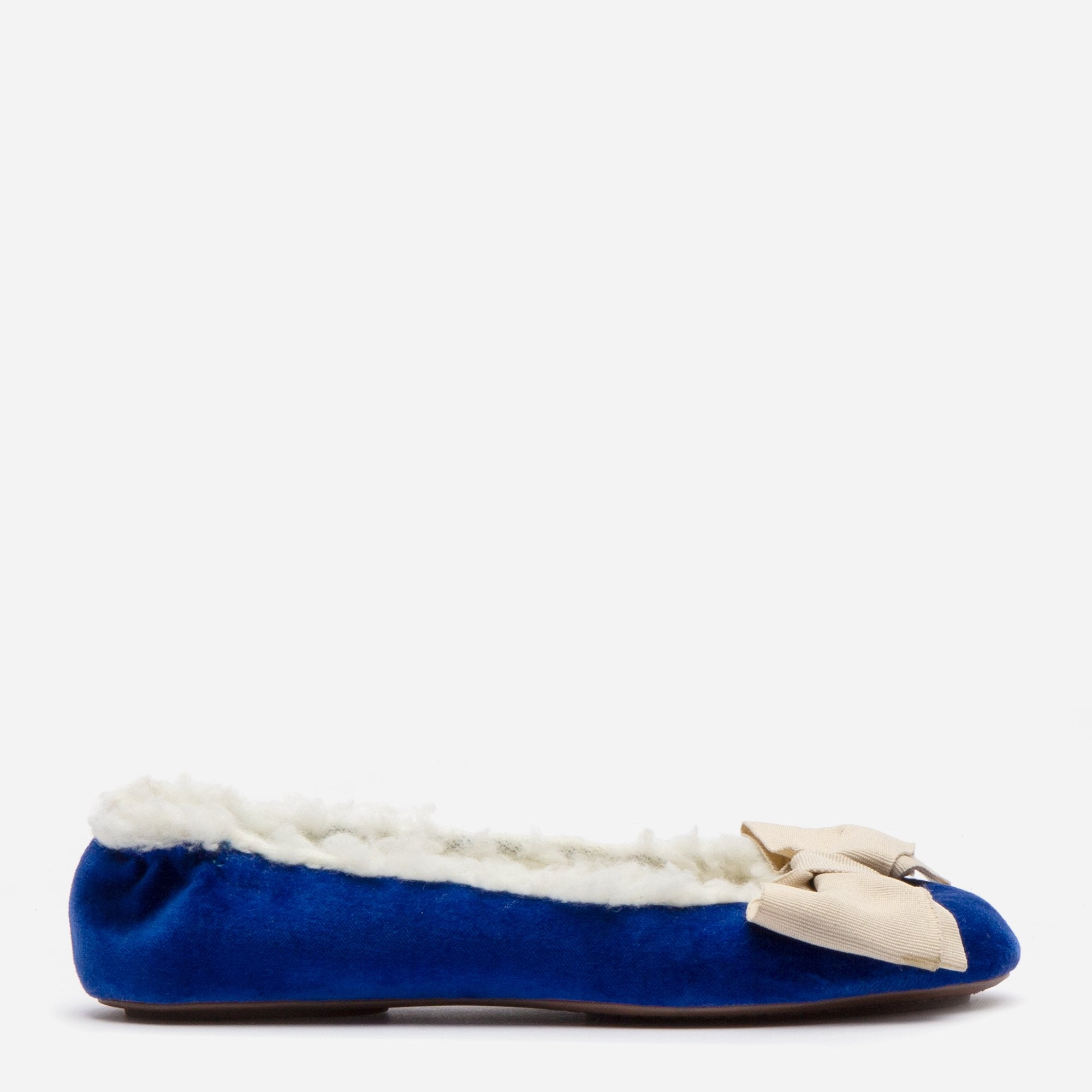 Velvet Bow Slipper Faux Shearling Royal - Frances Valentine