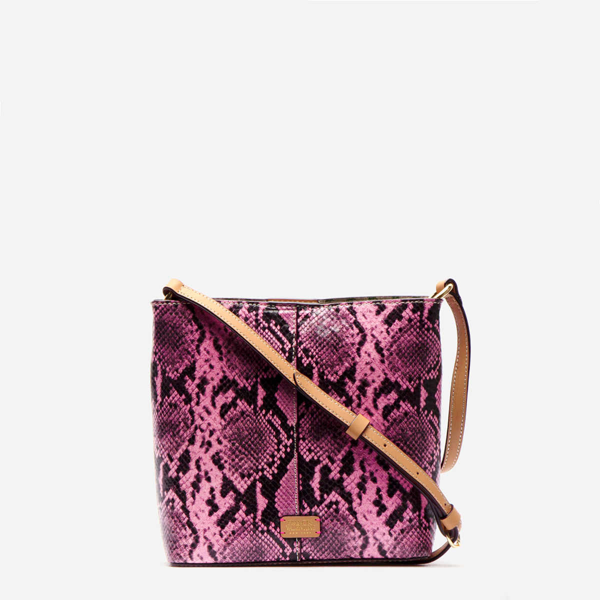 Small Finn Snake Embossed Leather Pink