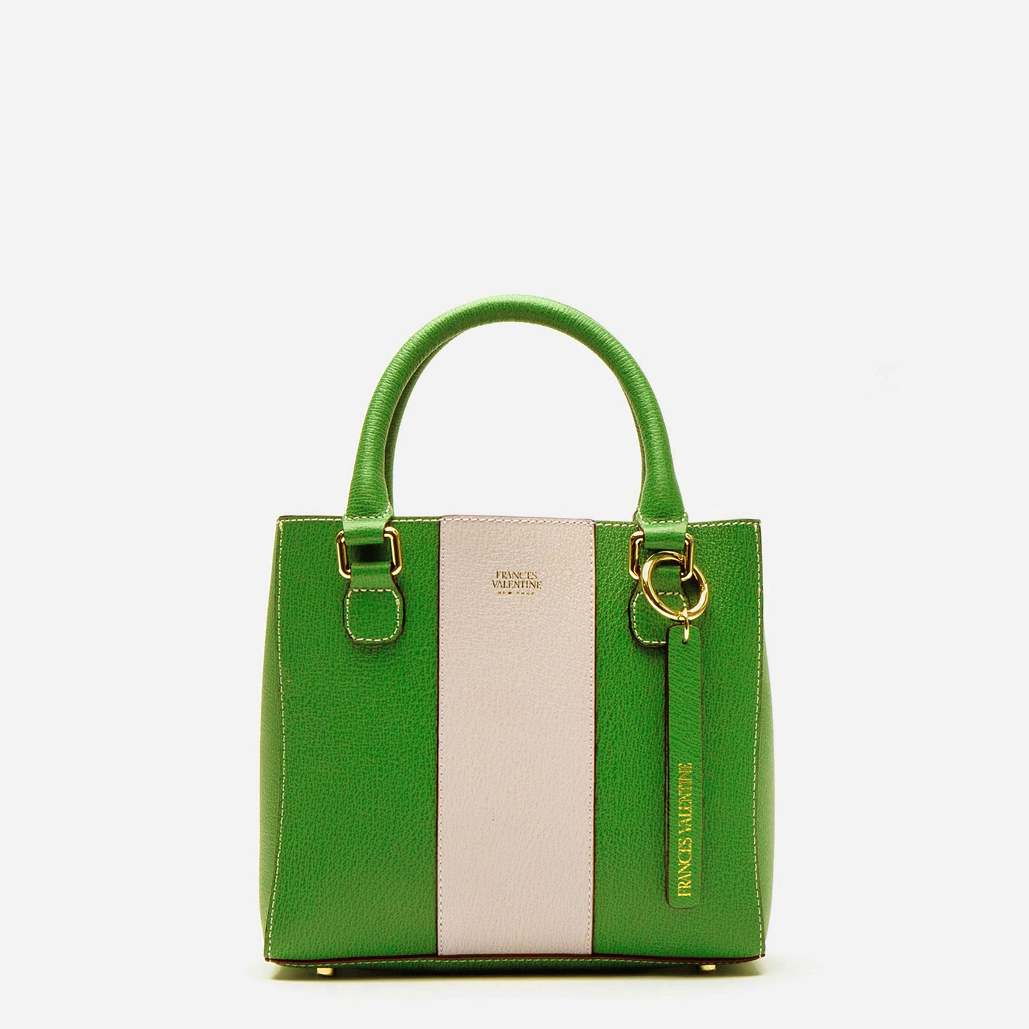 Small Chloe Racing Stripe Green Oyster - Frances Valentine