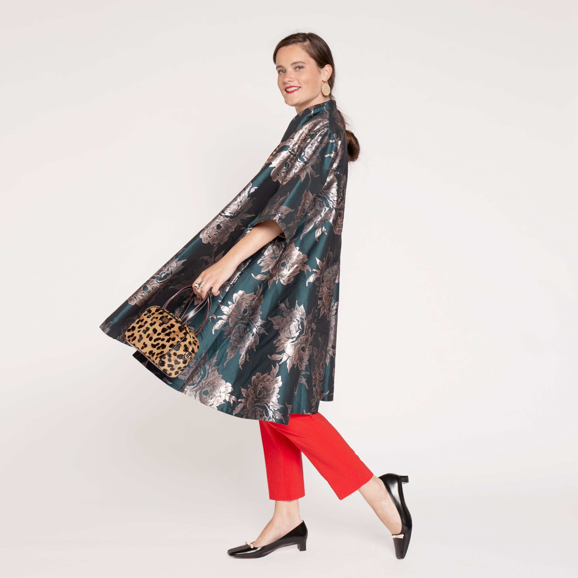 Metallic Jacquard Swing Coat Teal