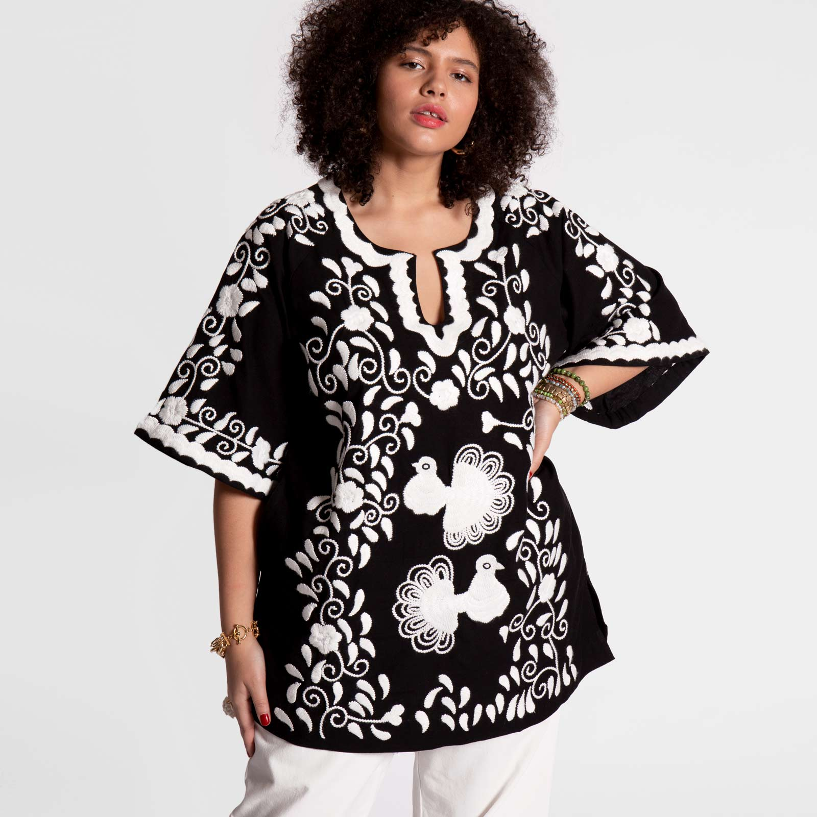 Peacock Tunic Black White - Frances Valentine