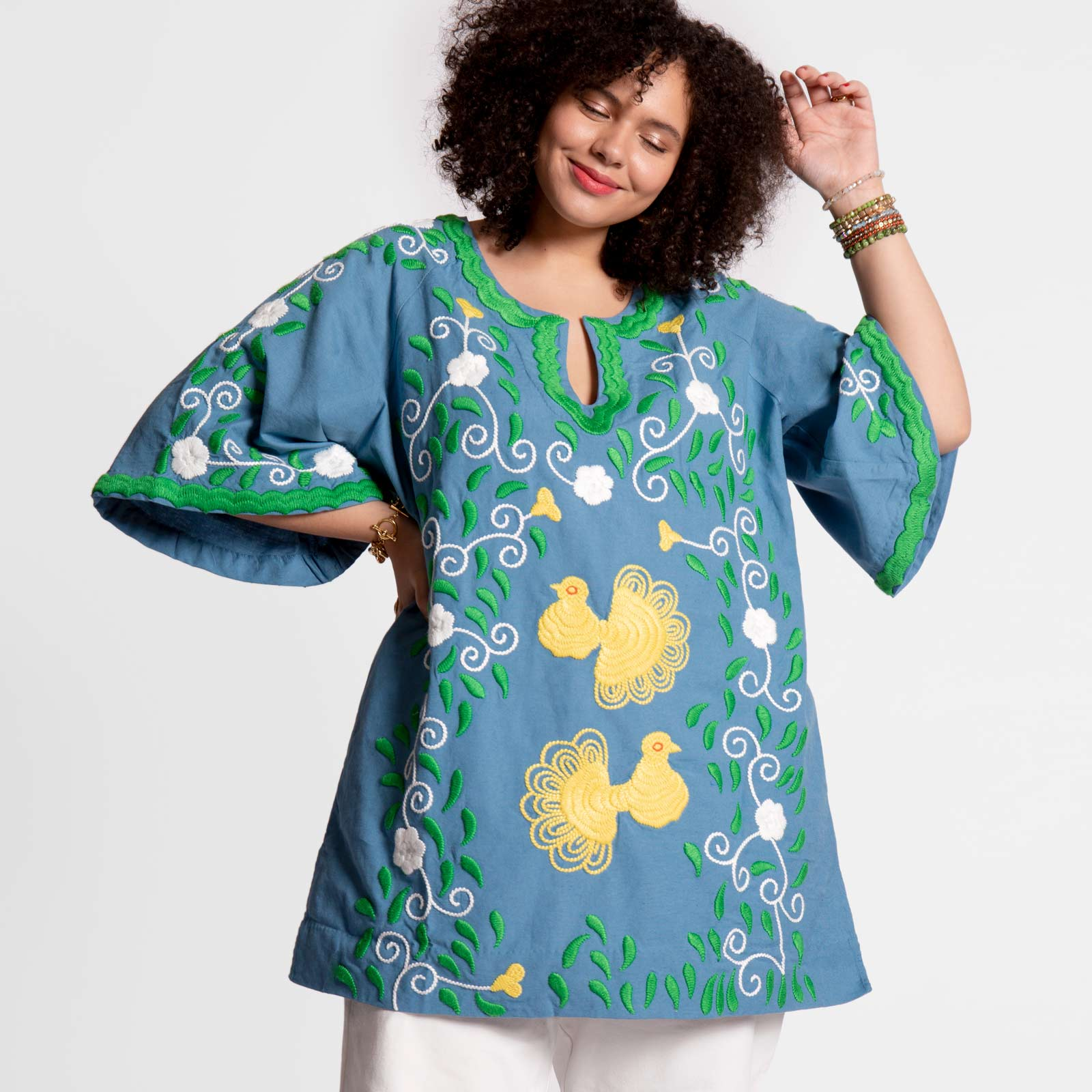 Peacock Tunic Light Blue Green Yellow - Frances Valentine
