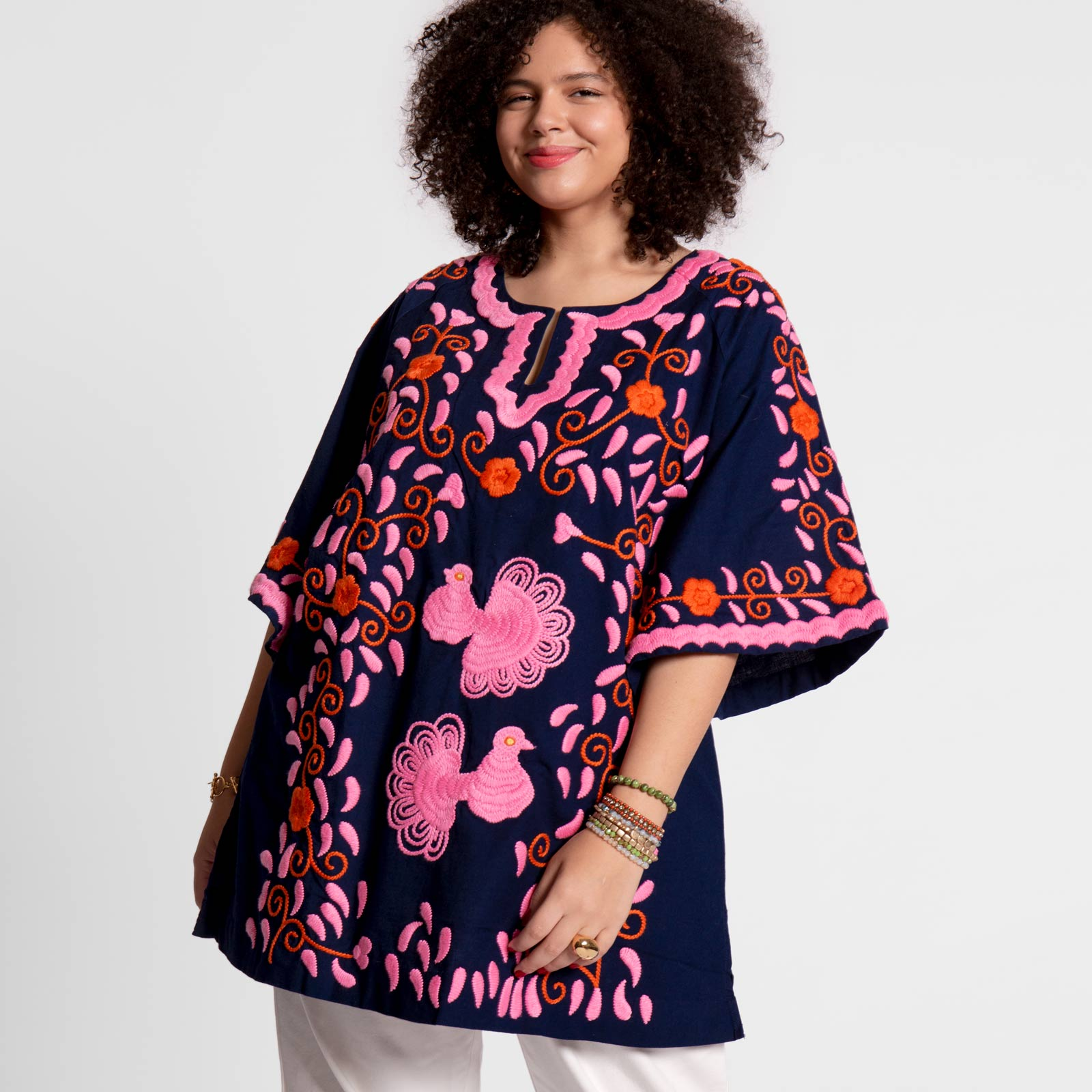 Peacock Tunic Navy Pink Orange