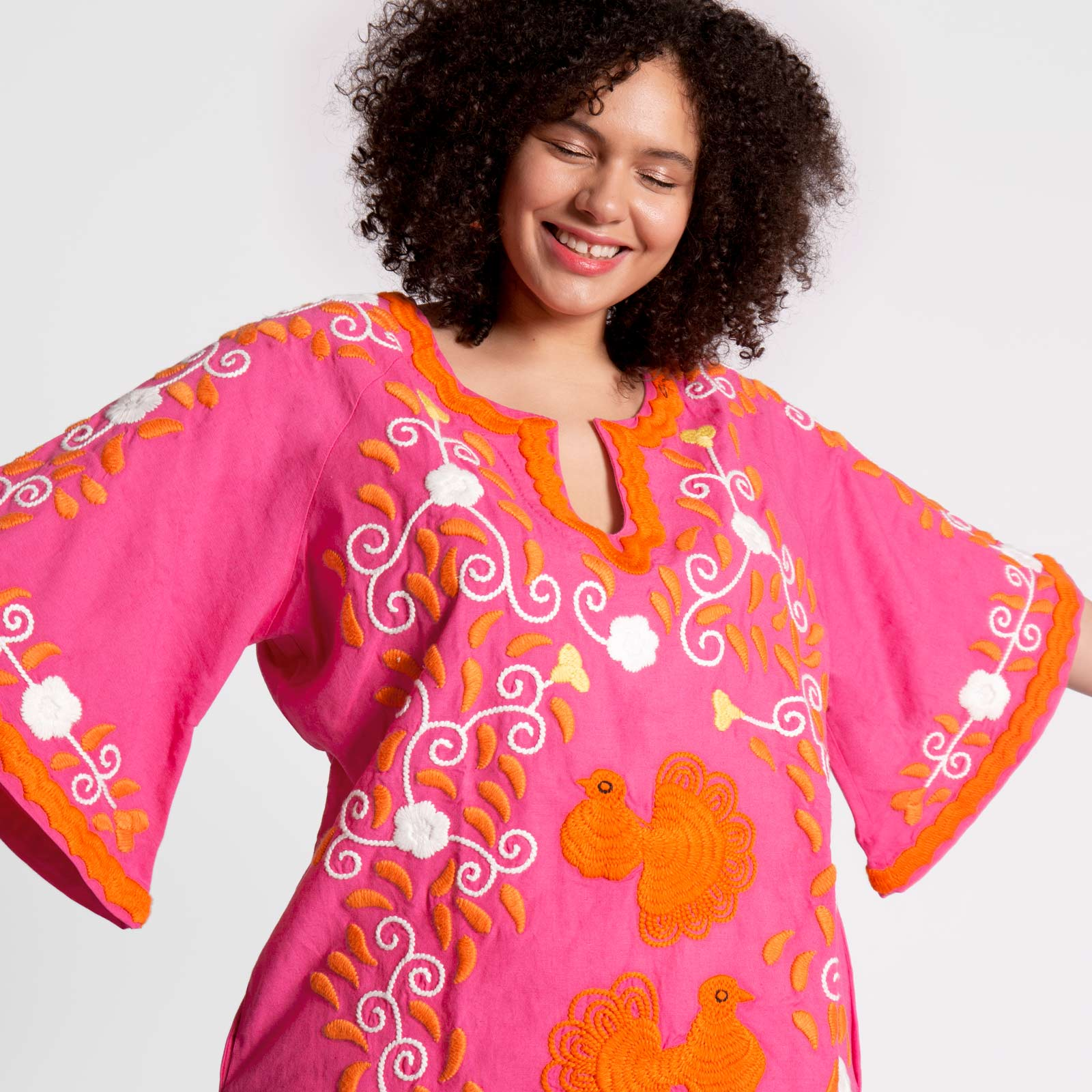 Peacock Tunic Pink Orange Coral