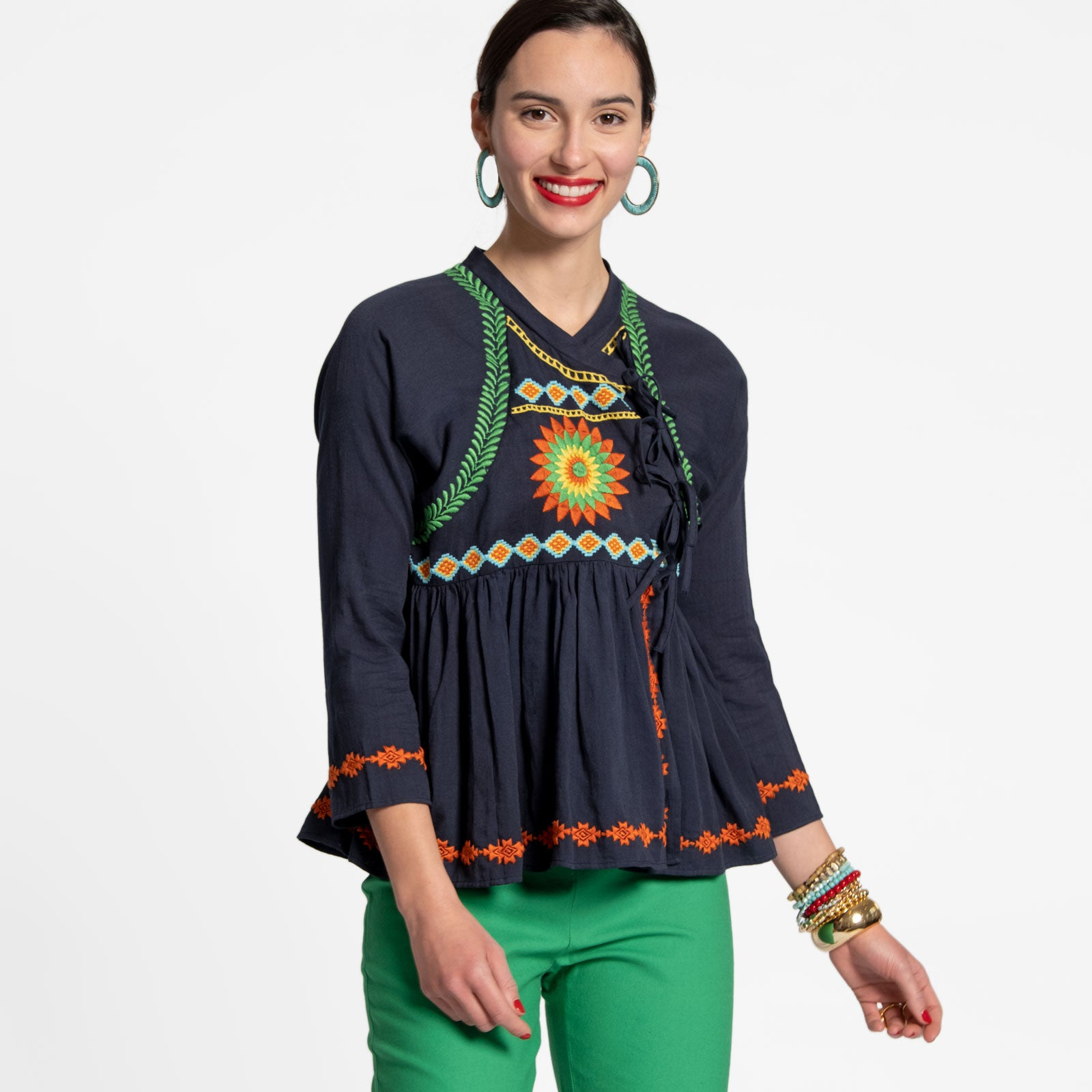Mandala Wrap Top Navy