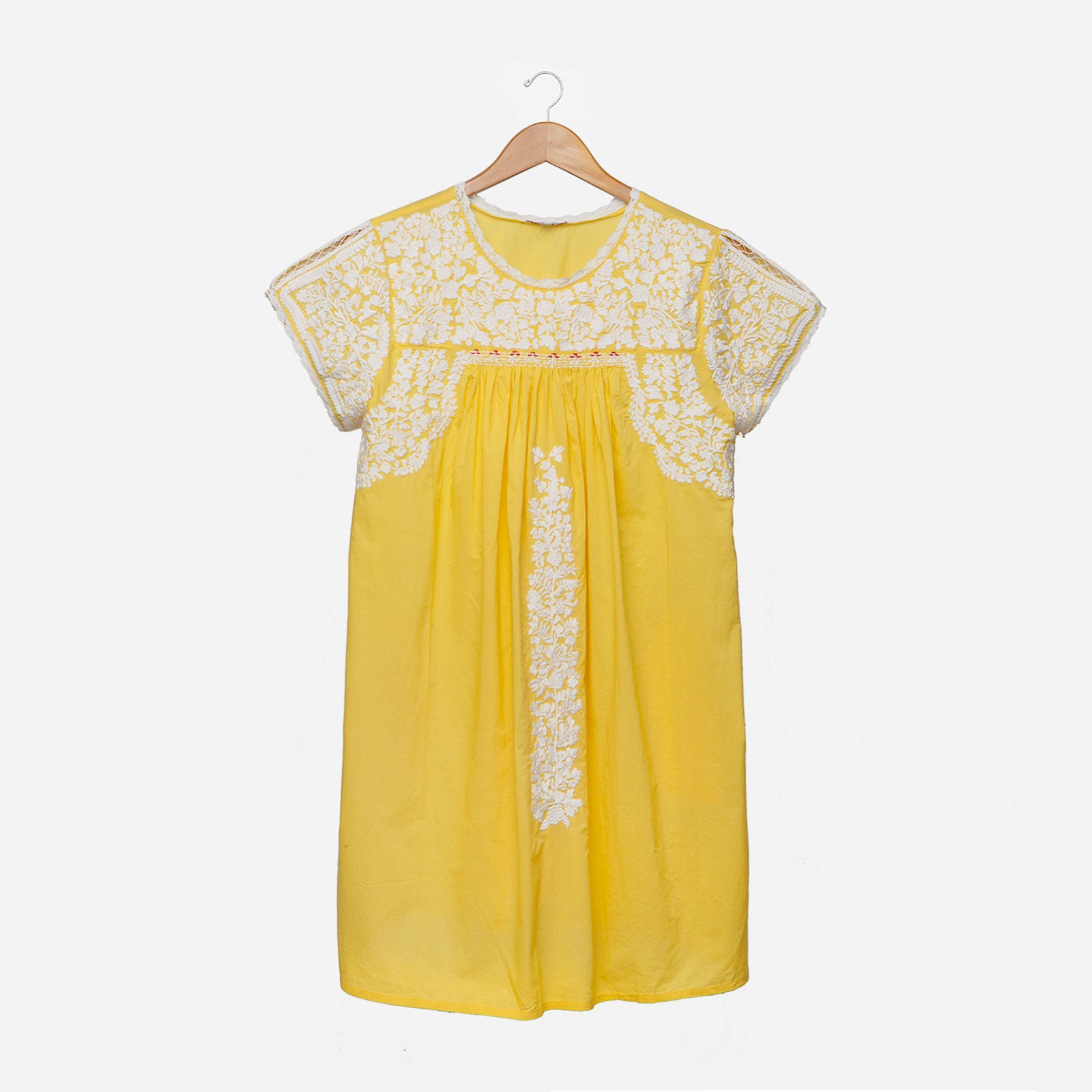 Floral Embroidered Lace Dress Yellow Oyster - Frances Valentine