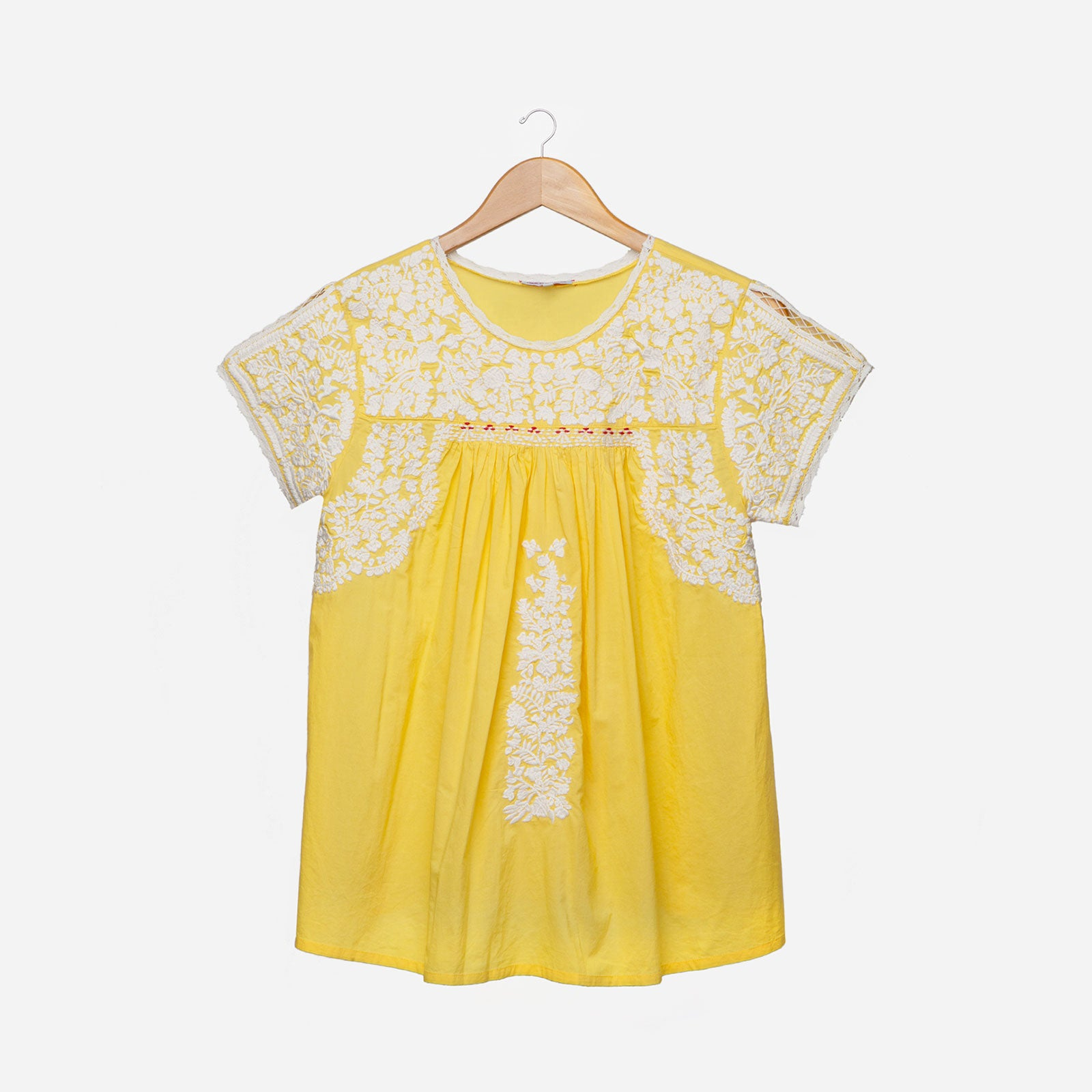 Floral Embroidered Lace Top Yellow Oyster - Frances Valentine