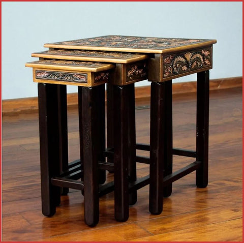 Bird of Paradise Accent Nesting Table set of 3